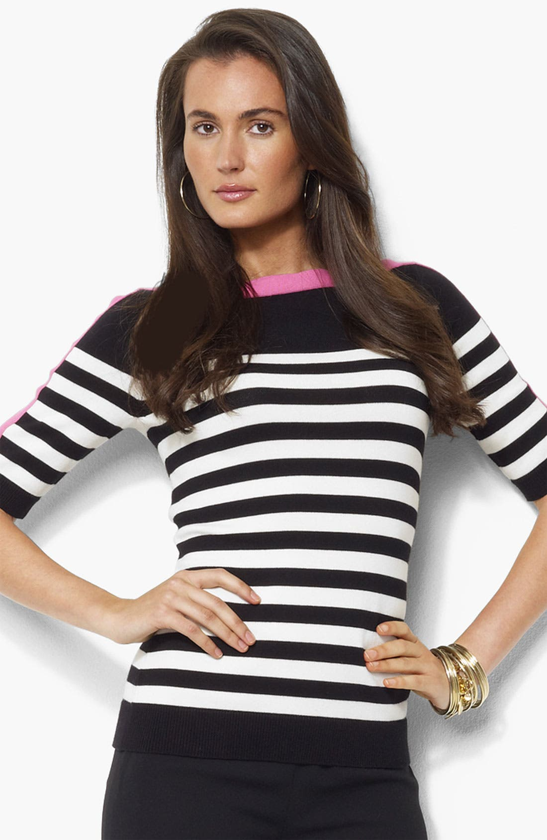 Alternate Image 1 Selected - Lauren Ralph Lauren Bateau Neck Stripe Sweater