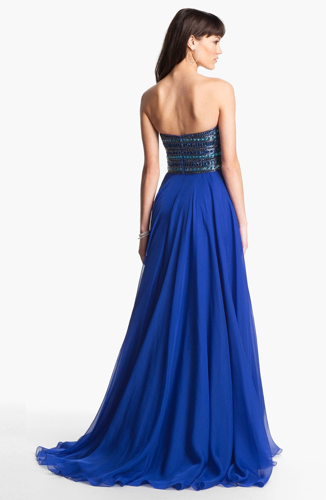 Alternate Image 2  - Sherri Hill Embellished Strapless Chiffon Gown (Online Only)