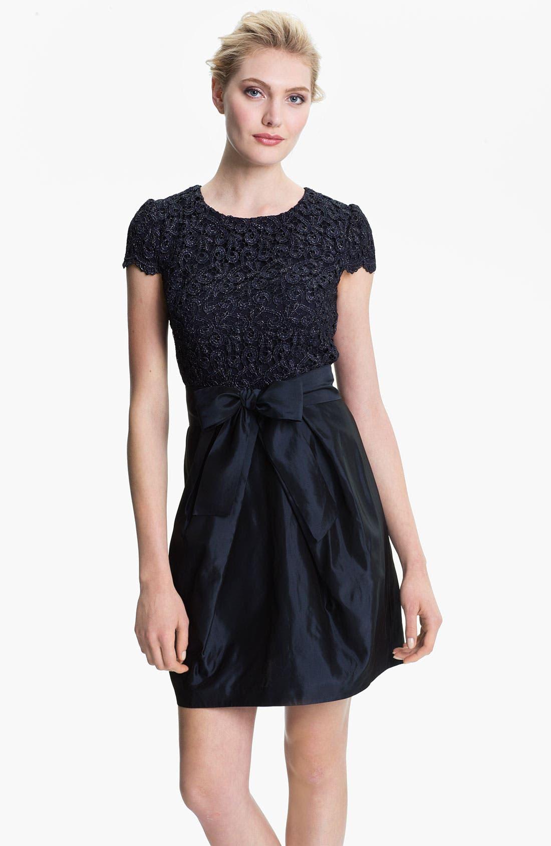 Main Image - Suzi Chin for Maggy Boutique Lace & Taffeta Dress (Petite)