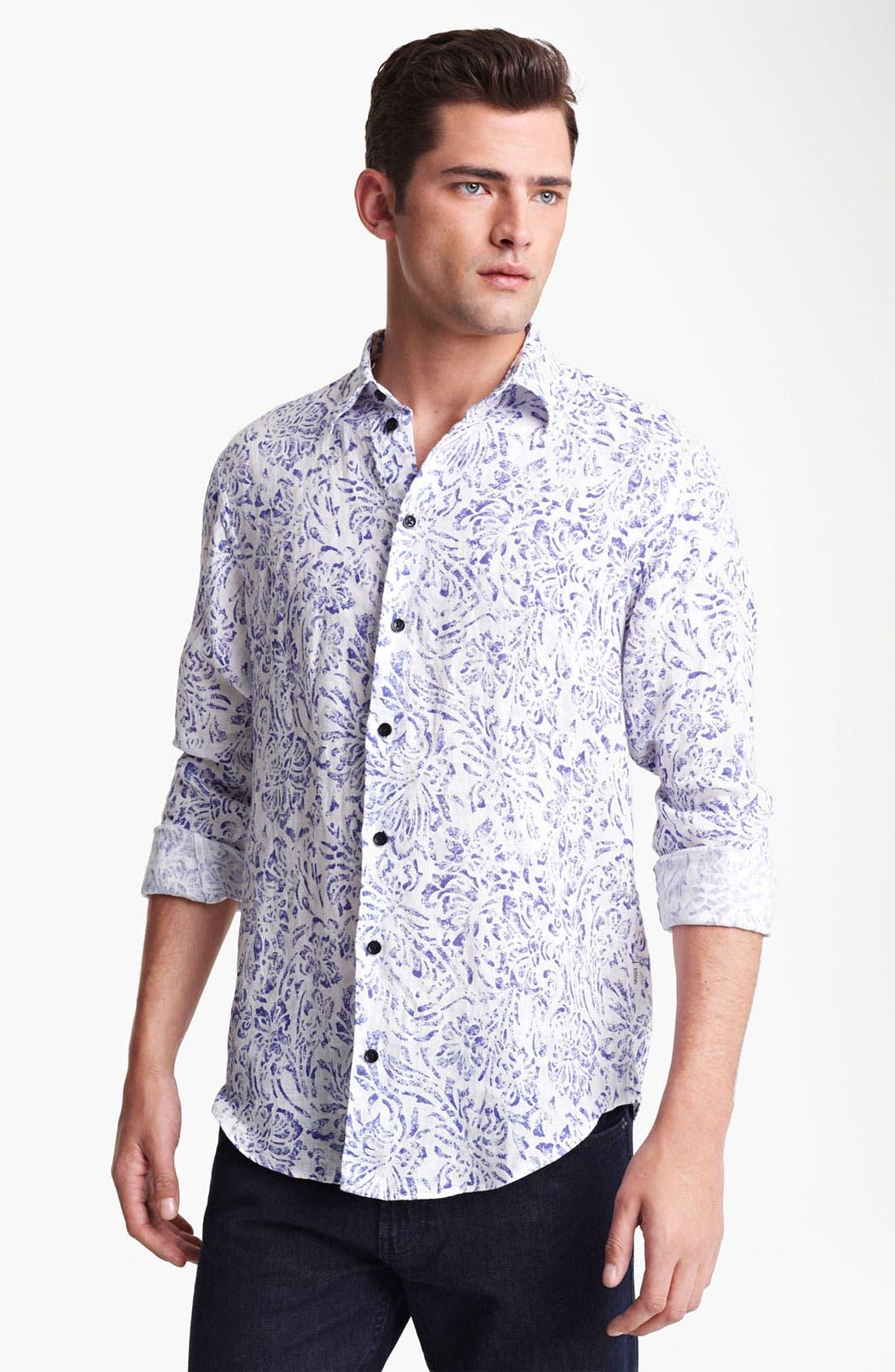 Main Image - Armani Collezioni Floral Print Linen Sport Shirt