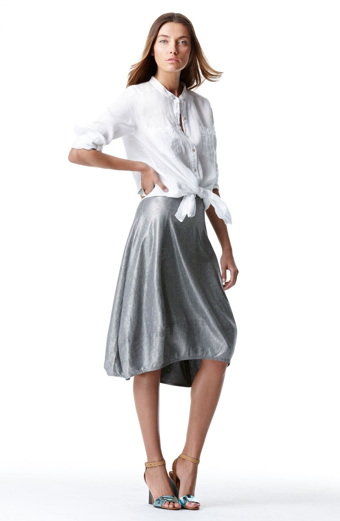 Alternate Image 8  - Eileen Fisher Stretch Linen Blend Lantern Skirt