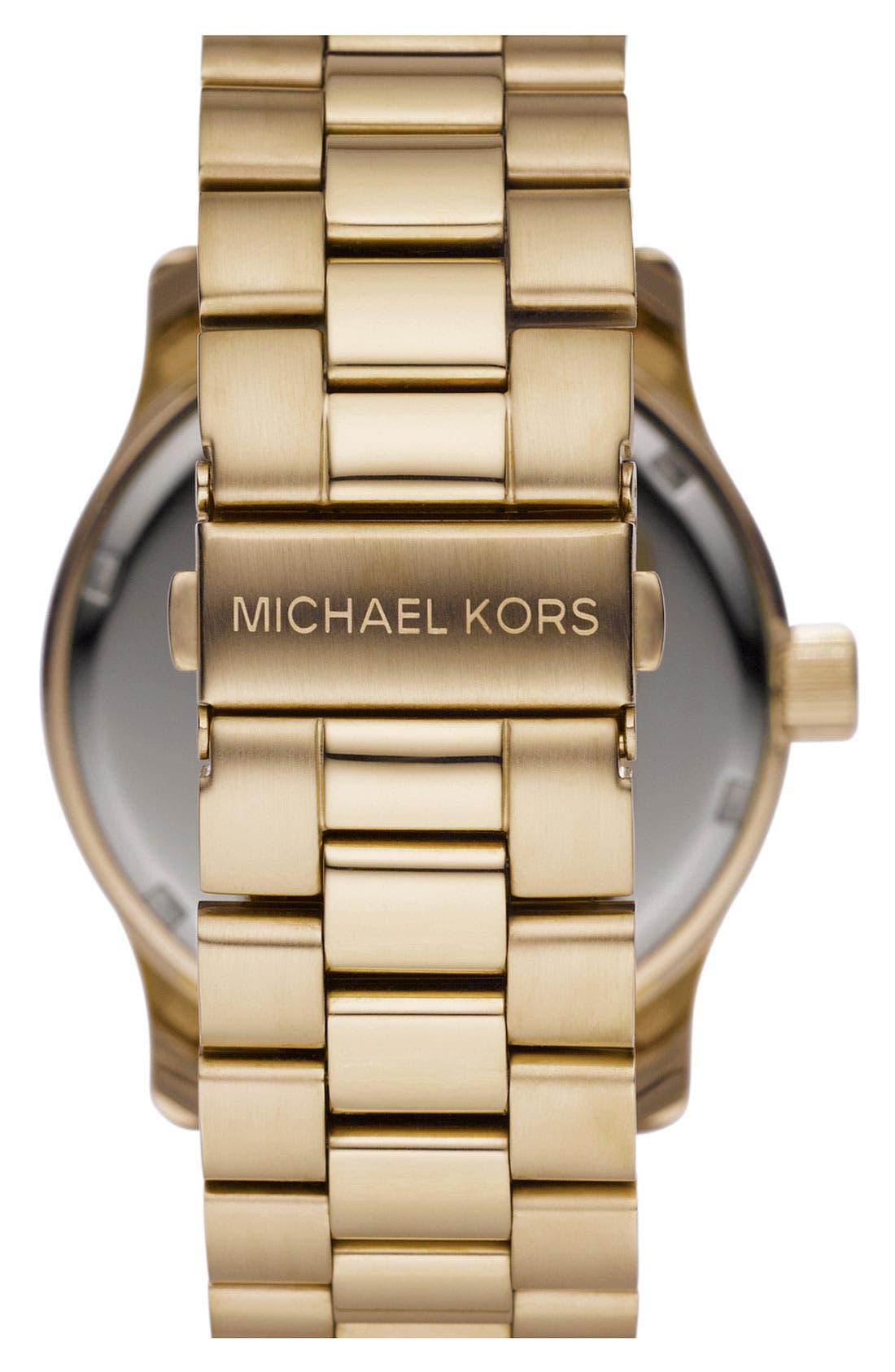 Michael Kors 'Runway' Logo Dial Watch,                             Alternate thumbnail 3, color,                             Gold