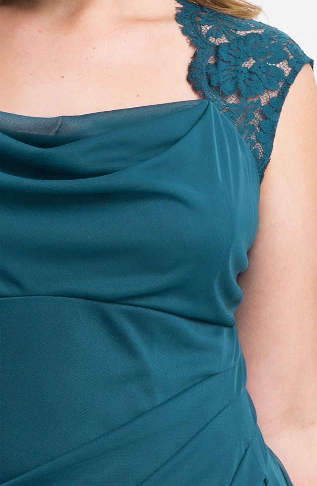 Alternate Image 3  - Xscape Lace Shoulder Gown (Plus Size) (Online Only)