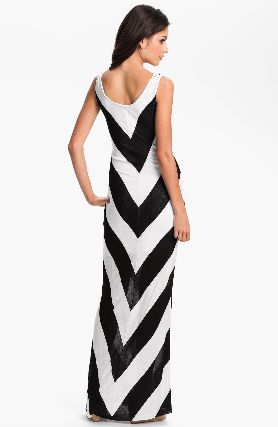 Alternate Image 2  - Hidden Heart Chevron Stripe Maxi Dress (Juniors)