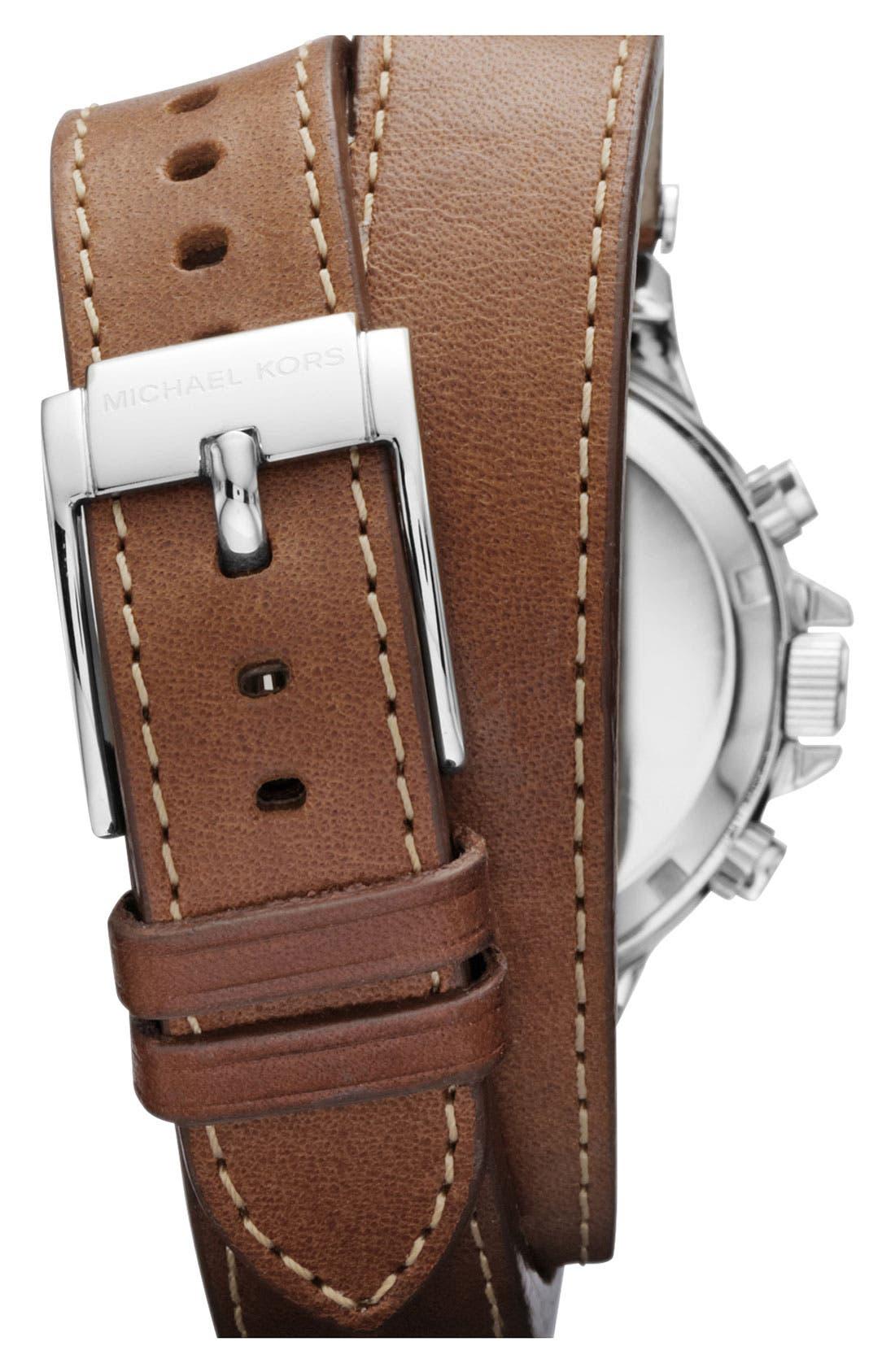 Alternate Image 3  - Michael Kors 'Peyton' Double Wrap Leather Strap Watch