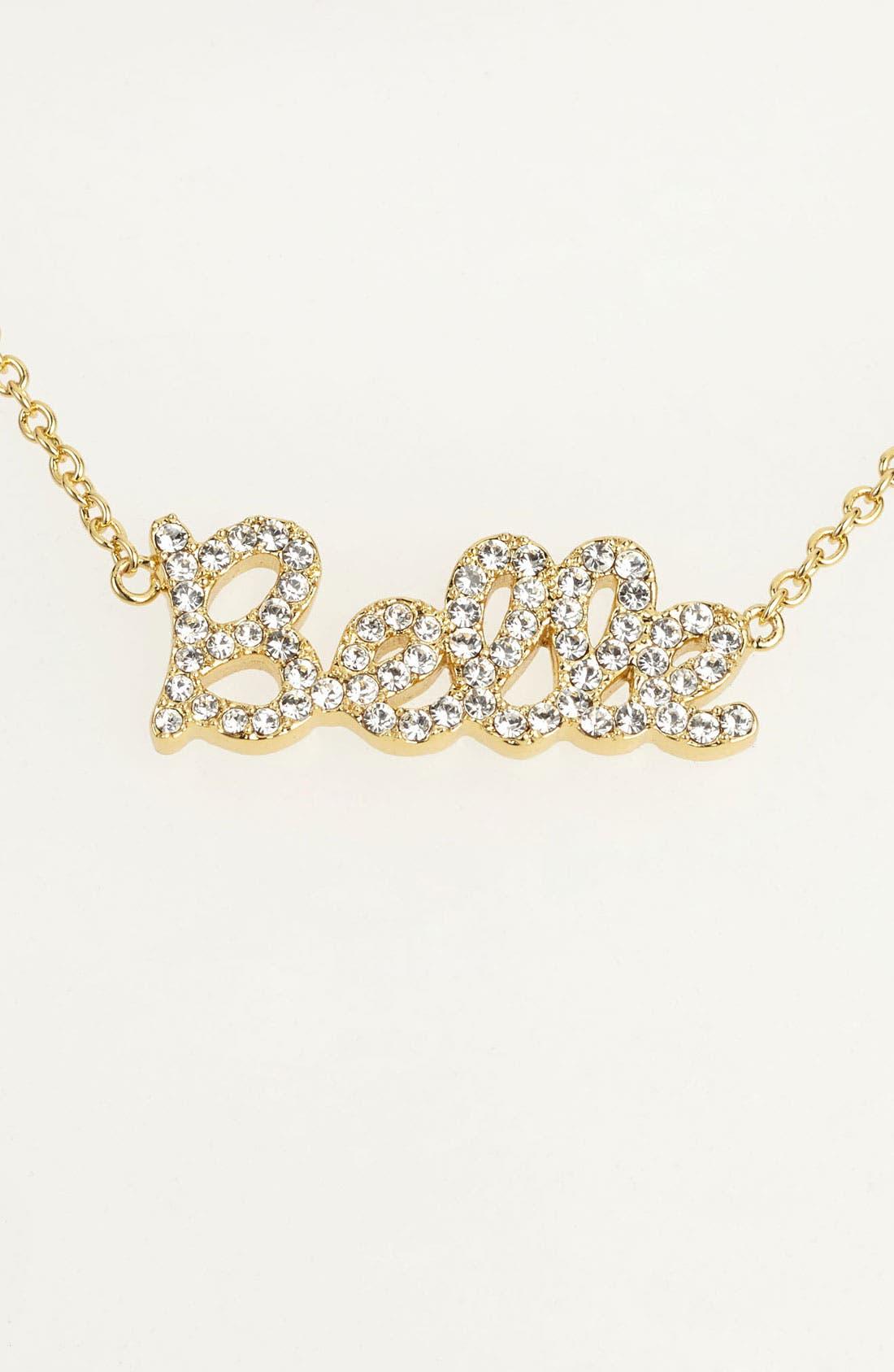 Main Image - Ariella Collection 'Messages - Belle' Script Pendant Necklace