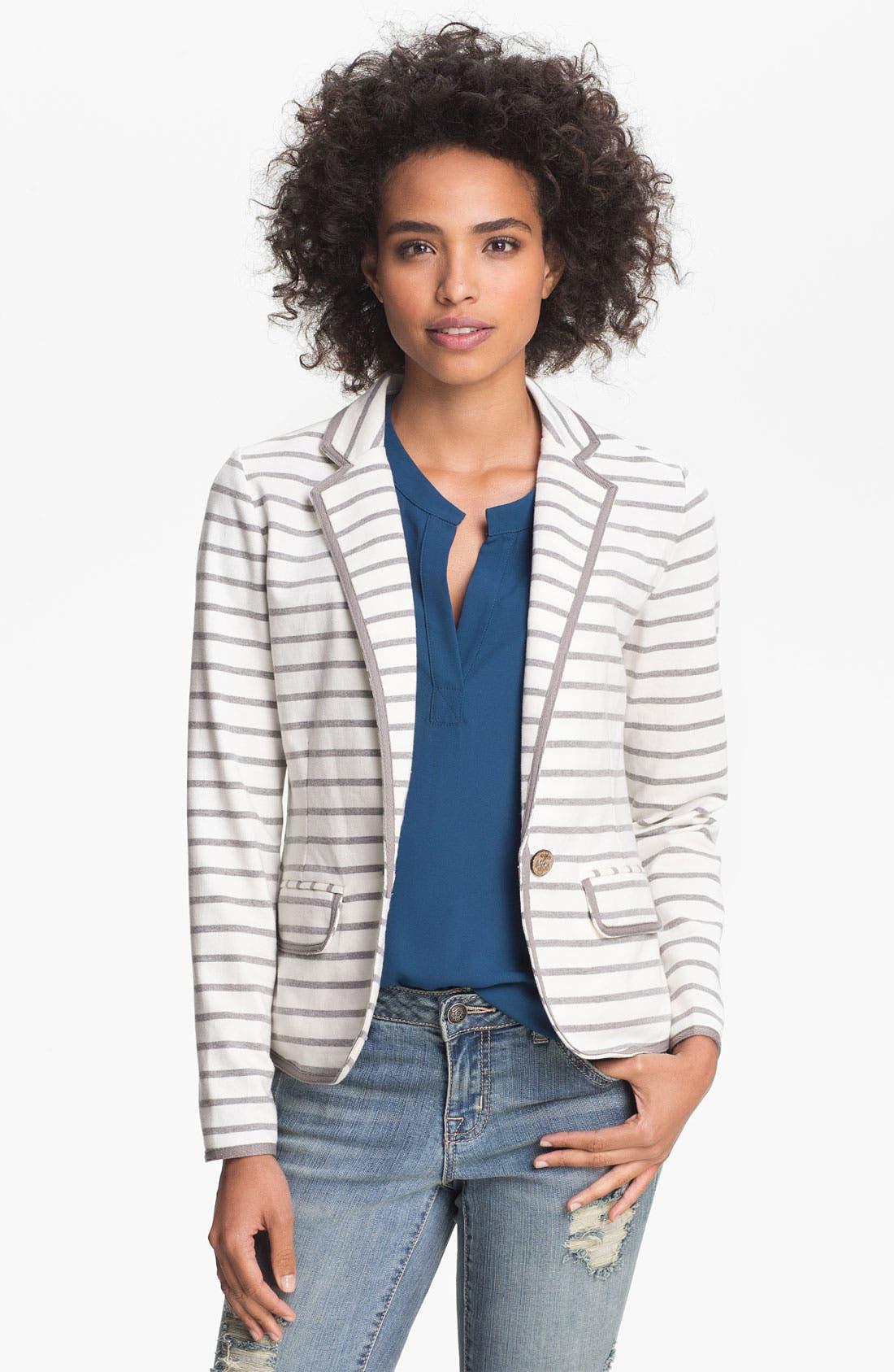 Alternate Image 1 Selected - Olive & Oak Stripe Knit Blazer (Online Exclusive)