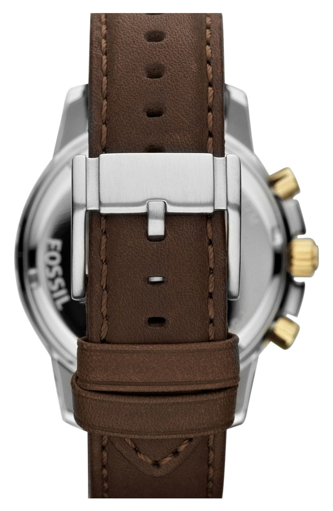 Alternate Image 2  - Fossil 'Dean' Chronograph Leather Strap Watch, 45mm