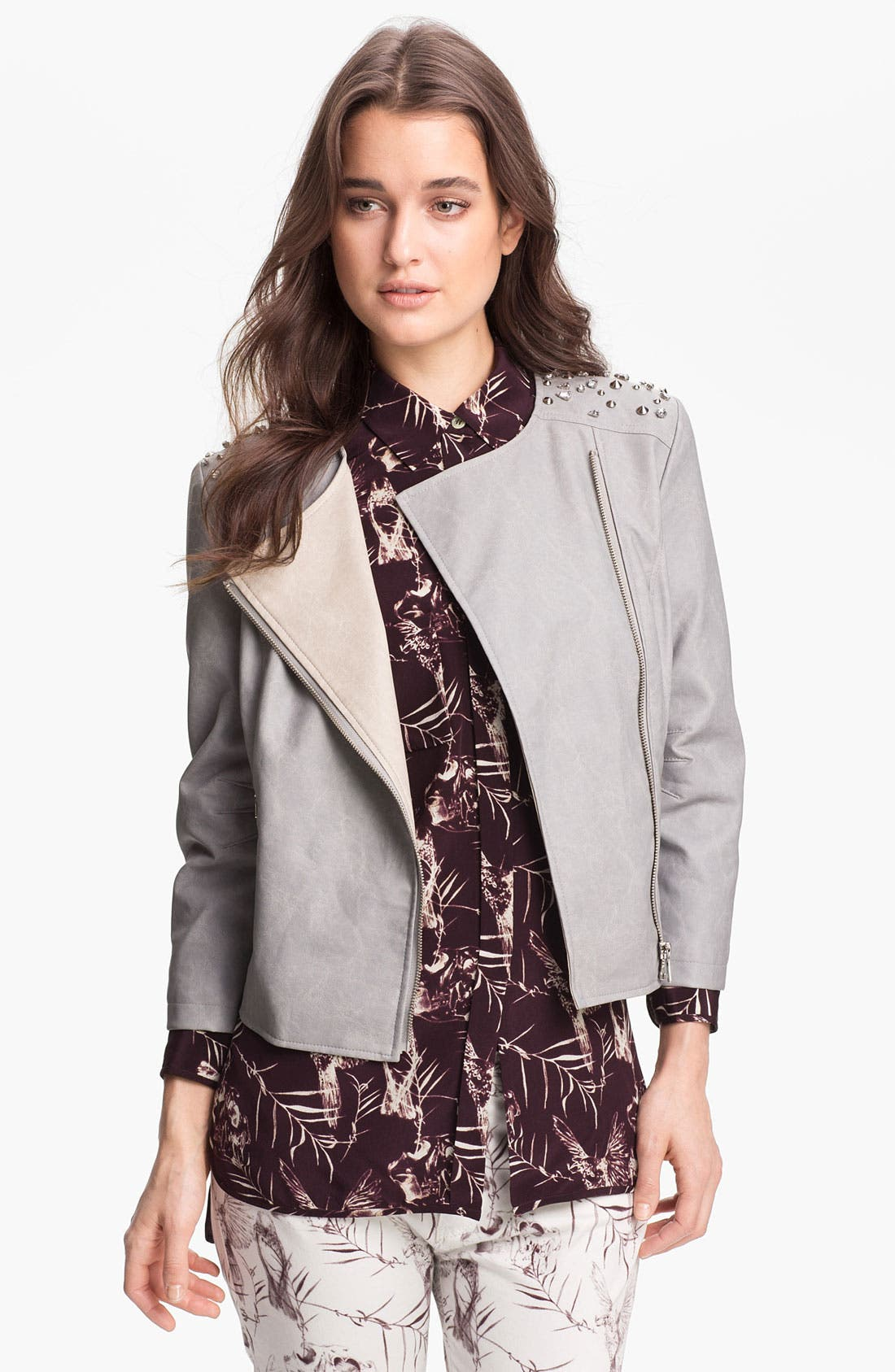 Alternate Image 1 Selected - Sam Edelman Embellished Faux Leather Jacket (Online Only)