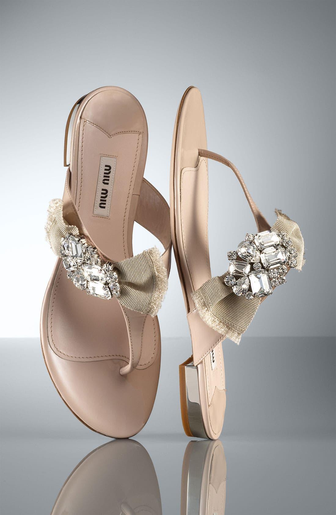 Alternate Image 5  - Miu Miu Crystal Bow Thong Sandal