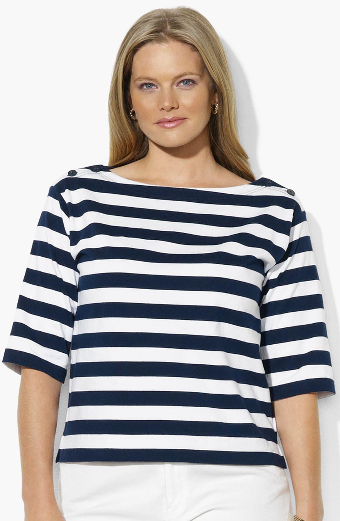 Alternate Image 1 Selected - Lauren Ralph Lauren Button Shoulder Stripe Top (Plus)