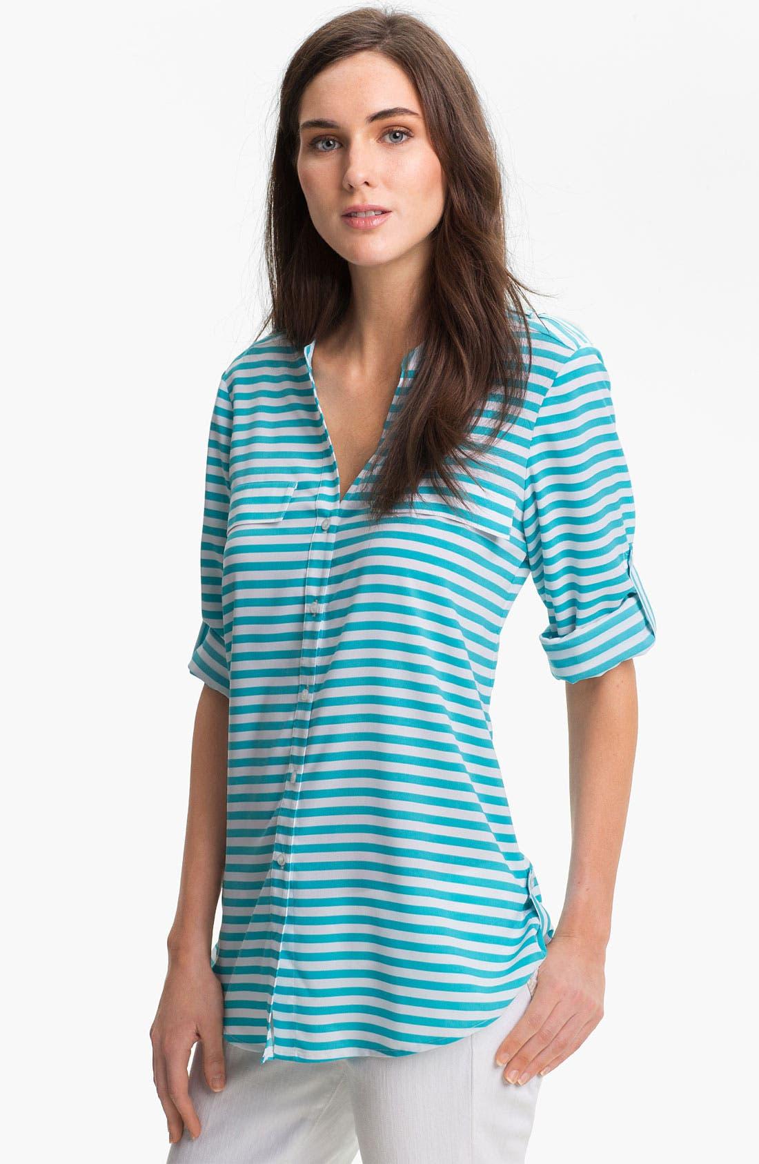 Alternate Image 1 Selected - Calvin Klein Crewneck Roll Sleeve Blouse