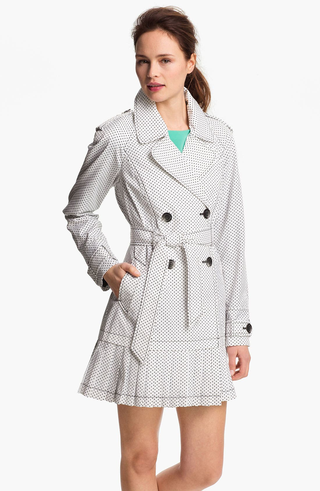 Alternate Image 1 Selected - Ivanka Trump Polka Dot Pleat Hem Trench Coat (Online Only)