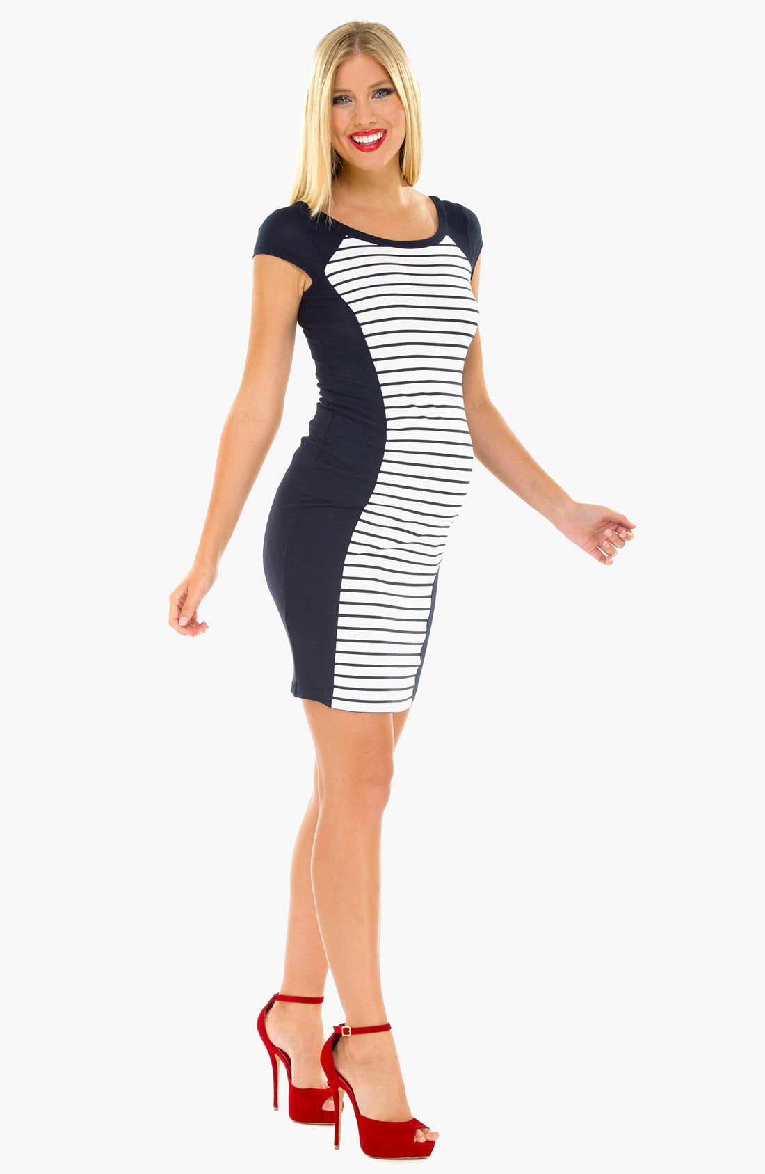Alternate Image 2  - Olian Stripe Maternity Tank Dress