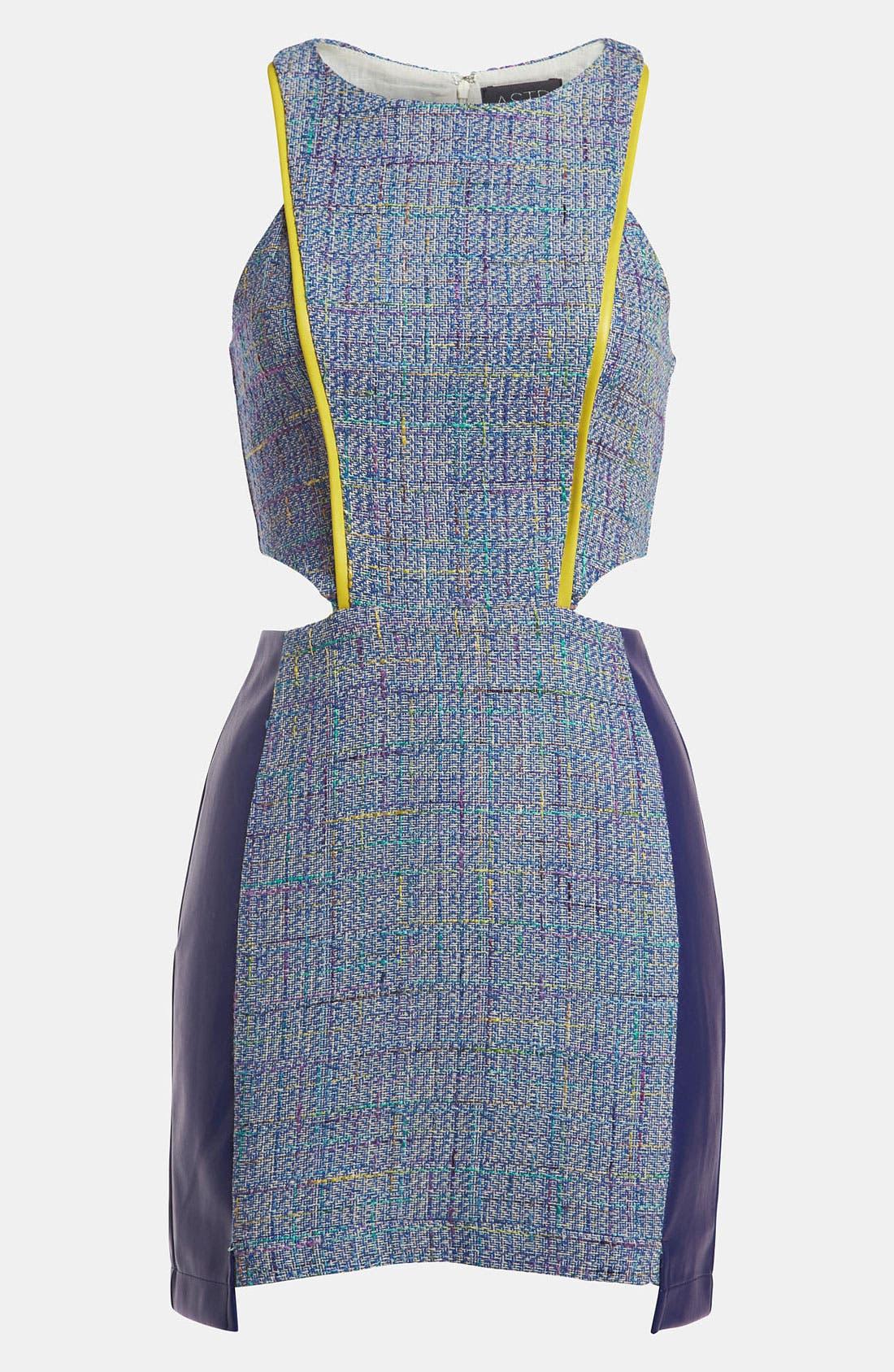 Main Image - ASTR Mixed Media Tweed Dress