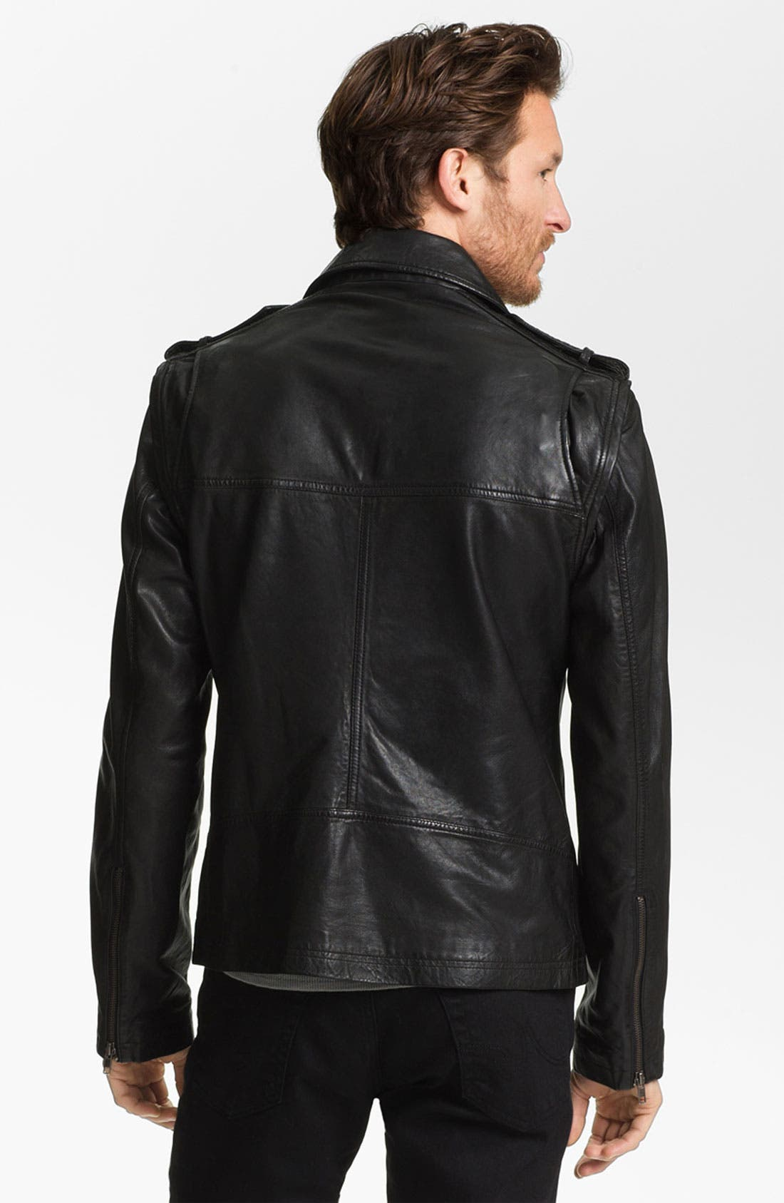 Alternate Image 2  - La Marque Lambskin Leather Convertible Jacket