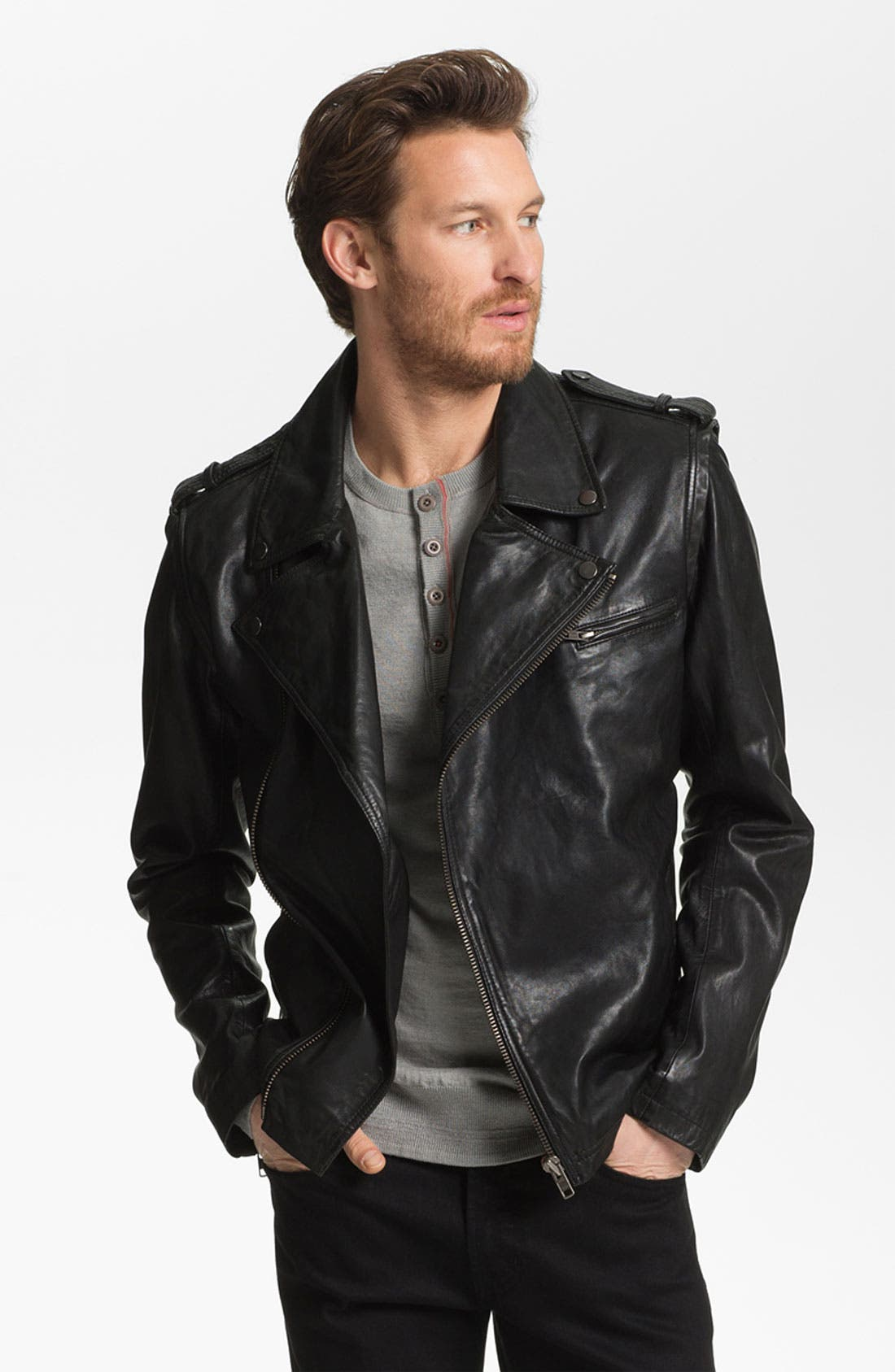 Main Image - La Marque Lambskin Leather Convertible Jacket