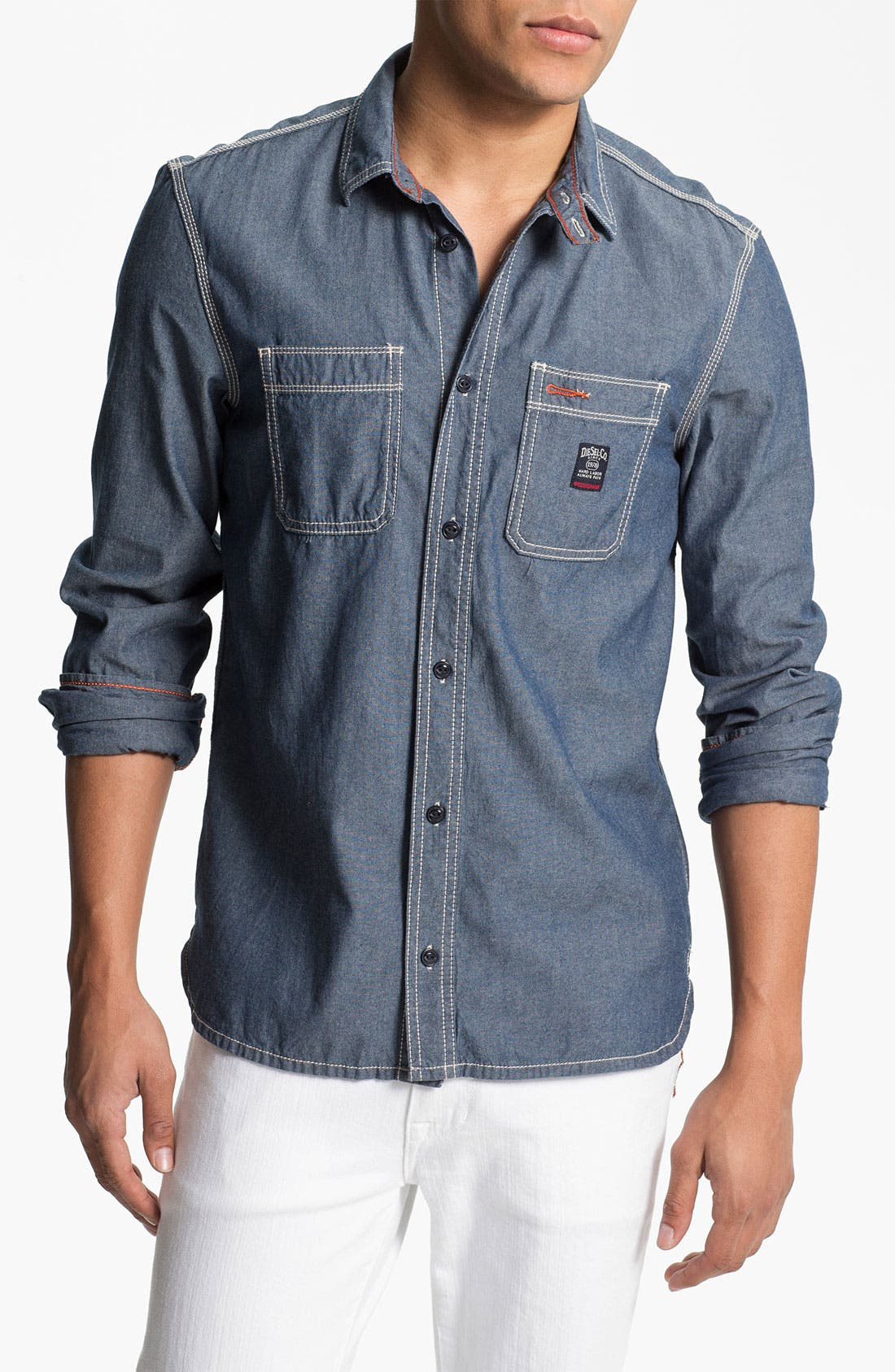 Alternate Image 1 Selected - DIESEL® 'Stepy' Chambray Cotton Shirt