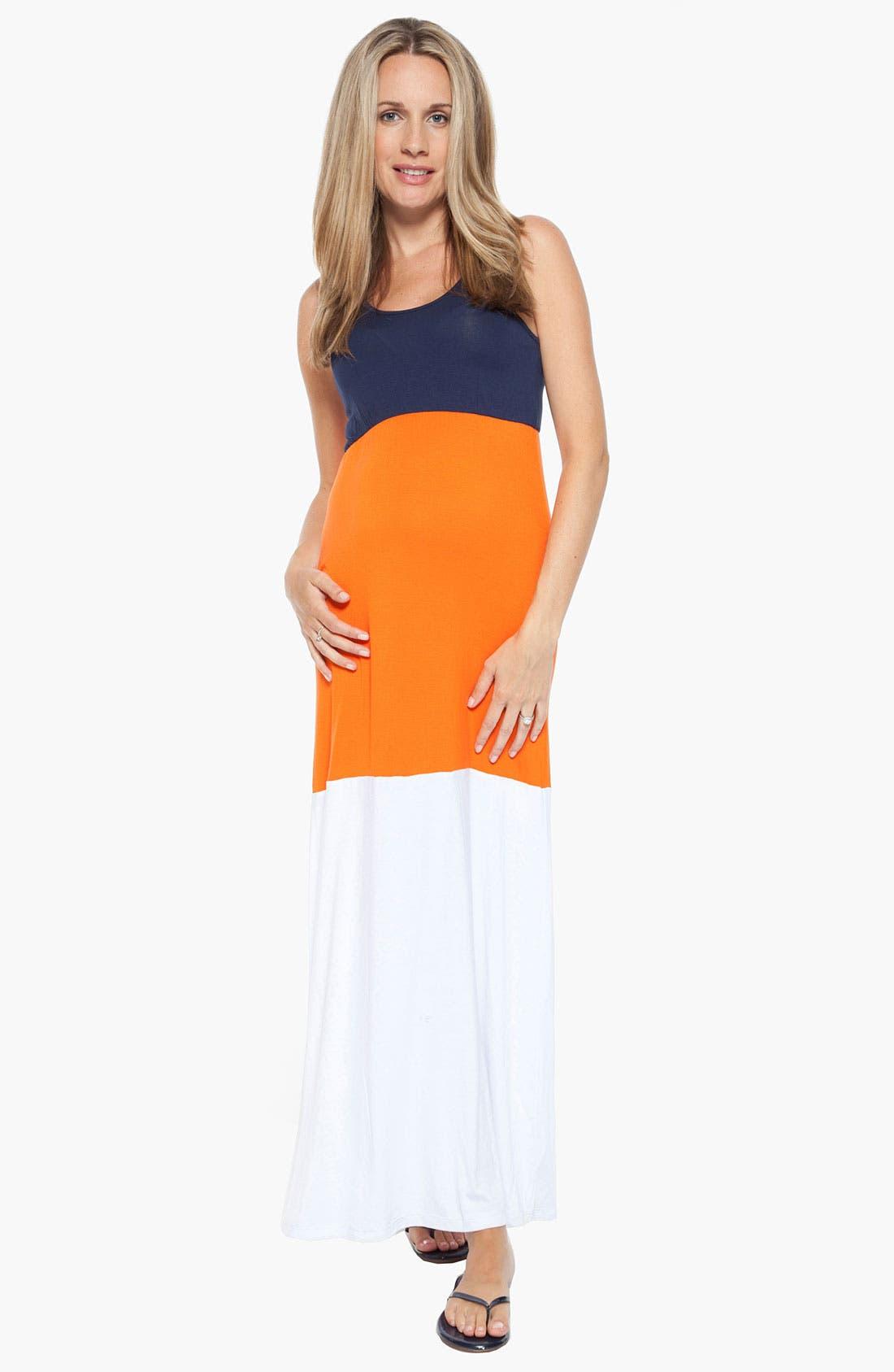 Alternate Image 1 Selected - Nom Maternity 'Gigi' Colorblock Maternity Maxi Dress
