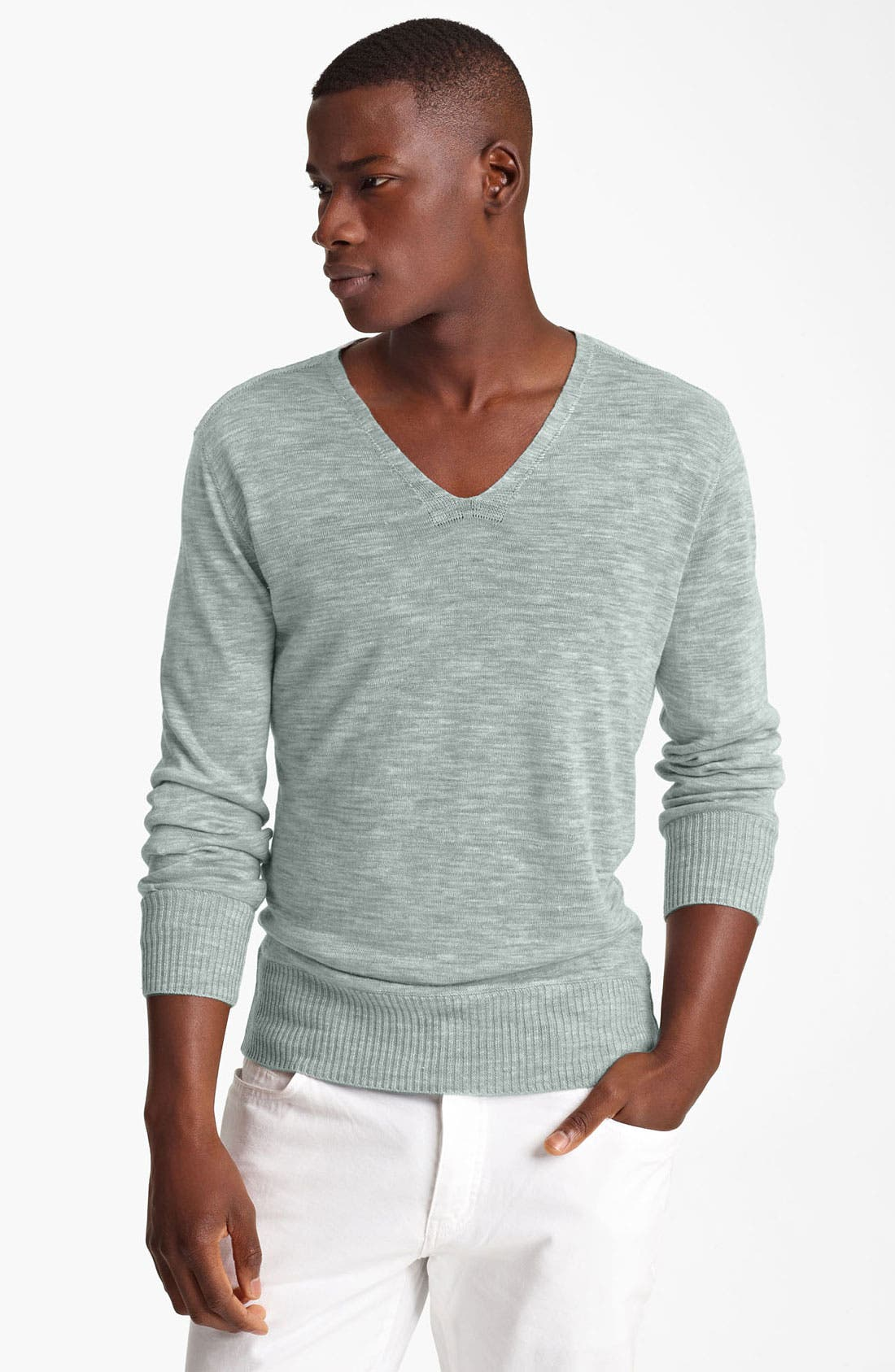 Main Image - John Varvatos Collection V-Neck Slub Linen Sweater
