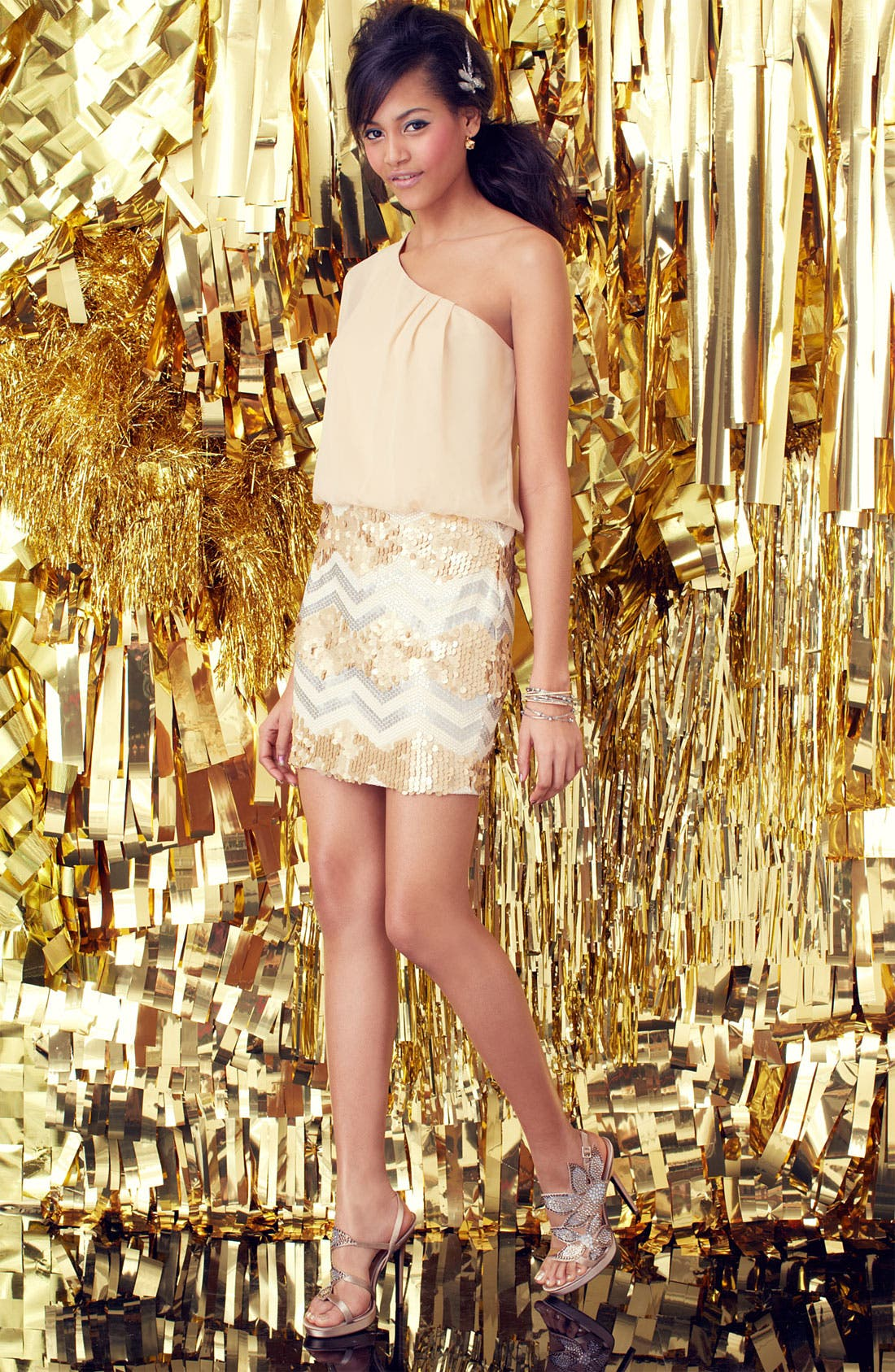 Alternate Image 4  - As U Wish One-Shoulder Sequin Skirt Dress (Juniors)