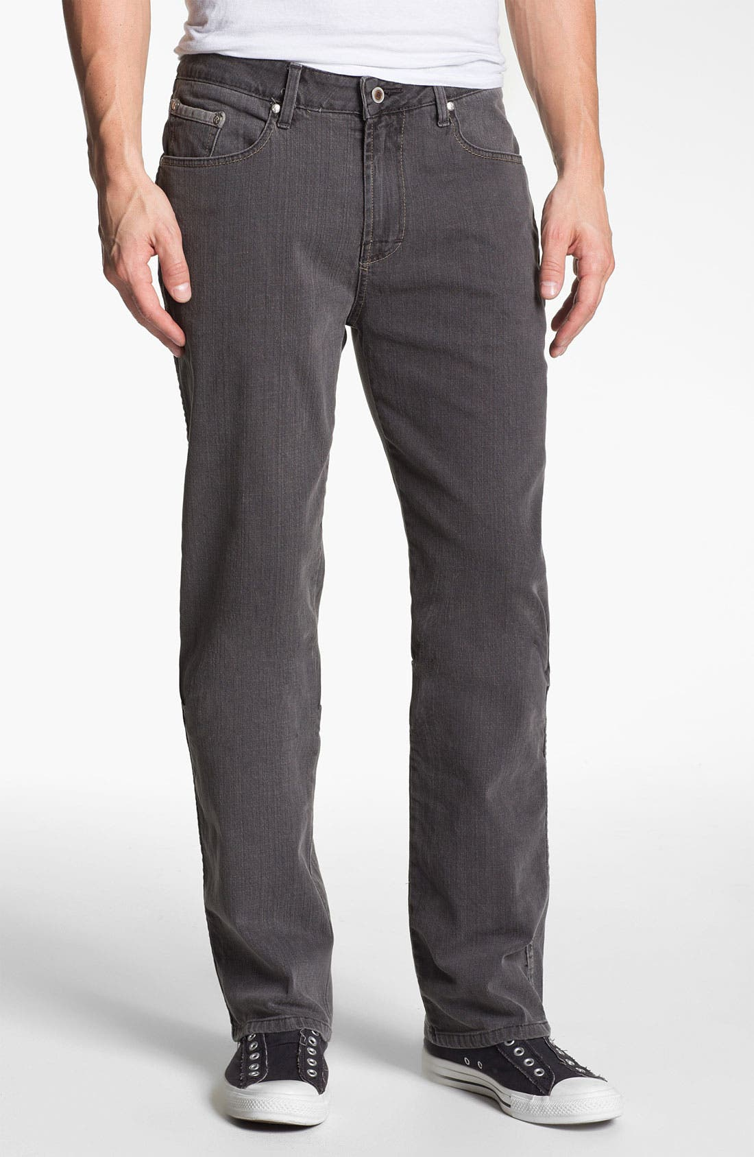 Main Image - ROAD 'Abbey Stretch' Relaxed Fit Straight Leg Jeans (Smoke)