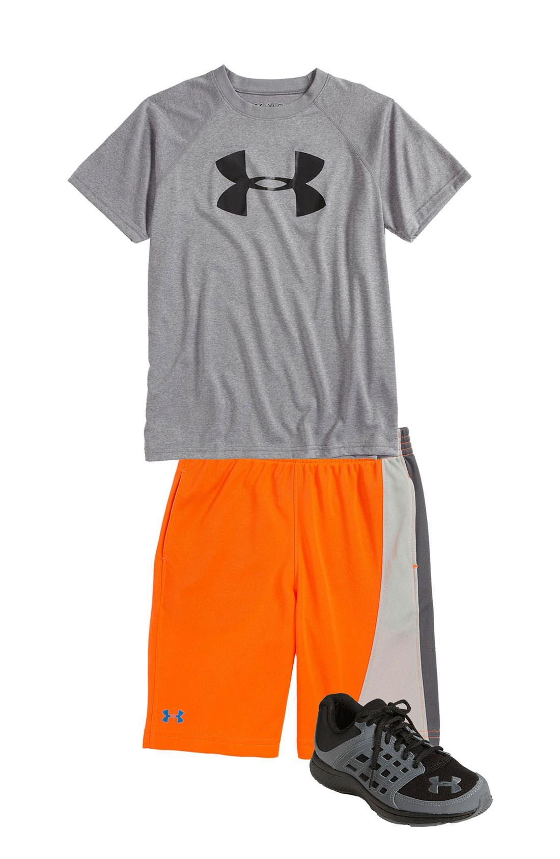 Alternate Image 1 Selected - Under Armour T-Shirt, Shorts & Sneaker (Little Boys)