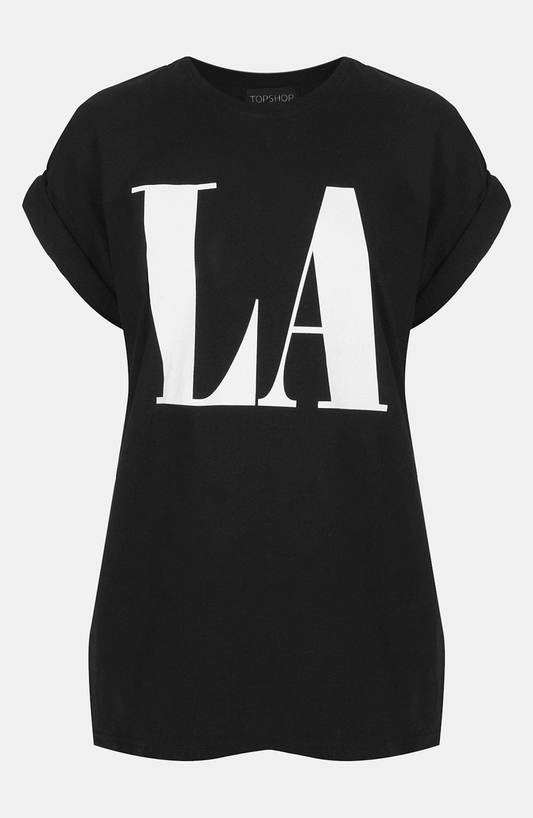 Main Image - Topshop 'LA' Roll Sleeve Graphic Tee