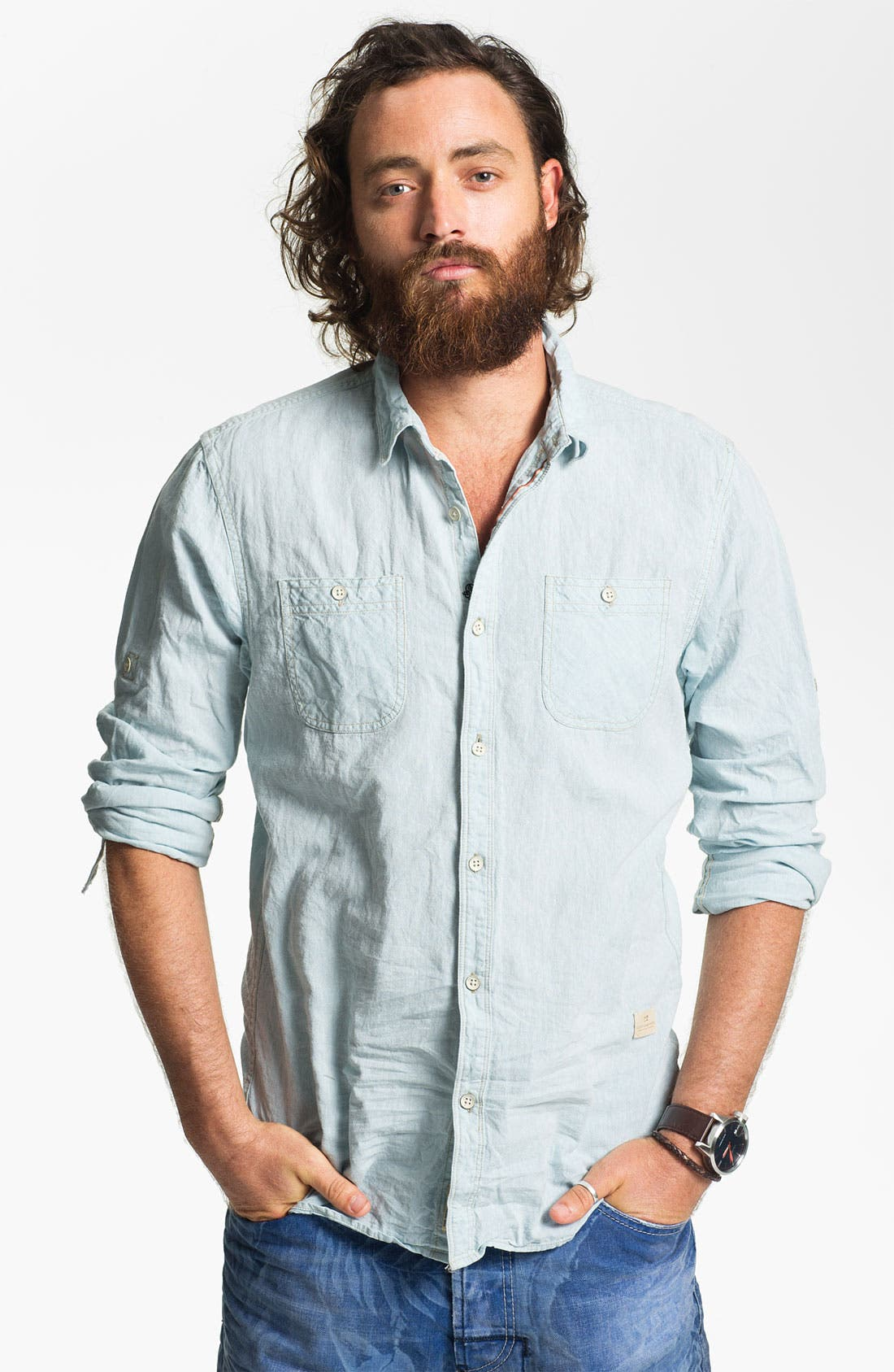Alternate Image 1 Selected - Scotch & Soda Linen & Cotton Shirt
