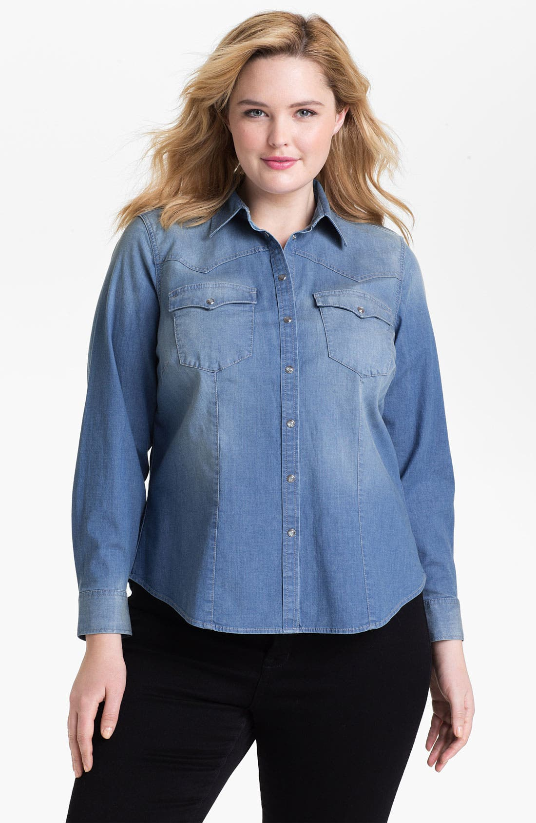 Alternate Image 1 Selected - Two by Vince Camuto Western Denim Shirt (Plus Size)