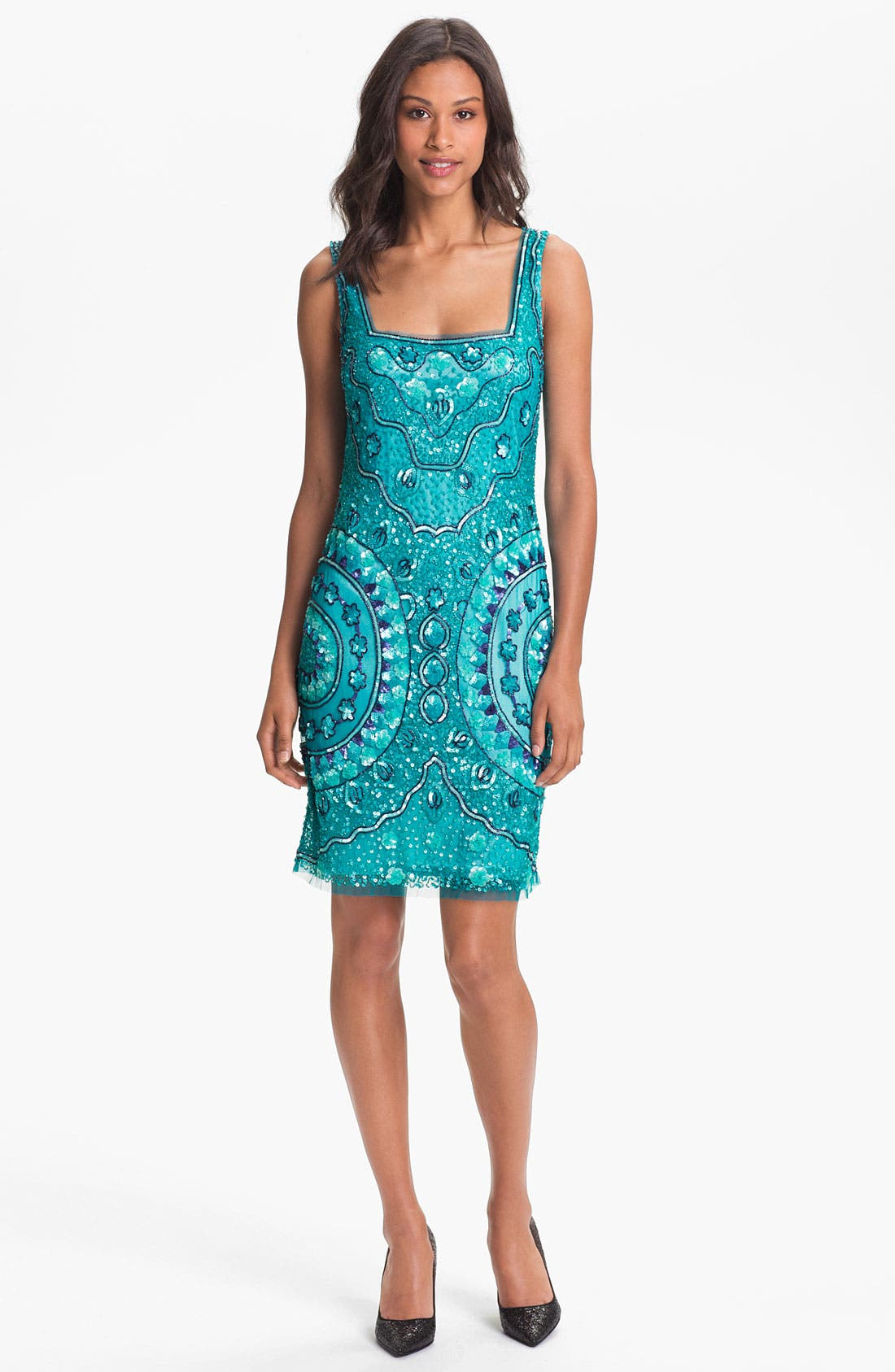 Main Image - Aidan Mattox Sleeveless Sequin Tulle Dress