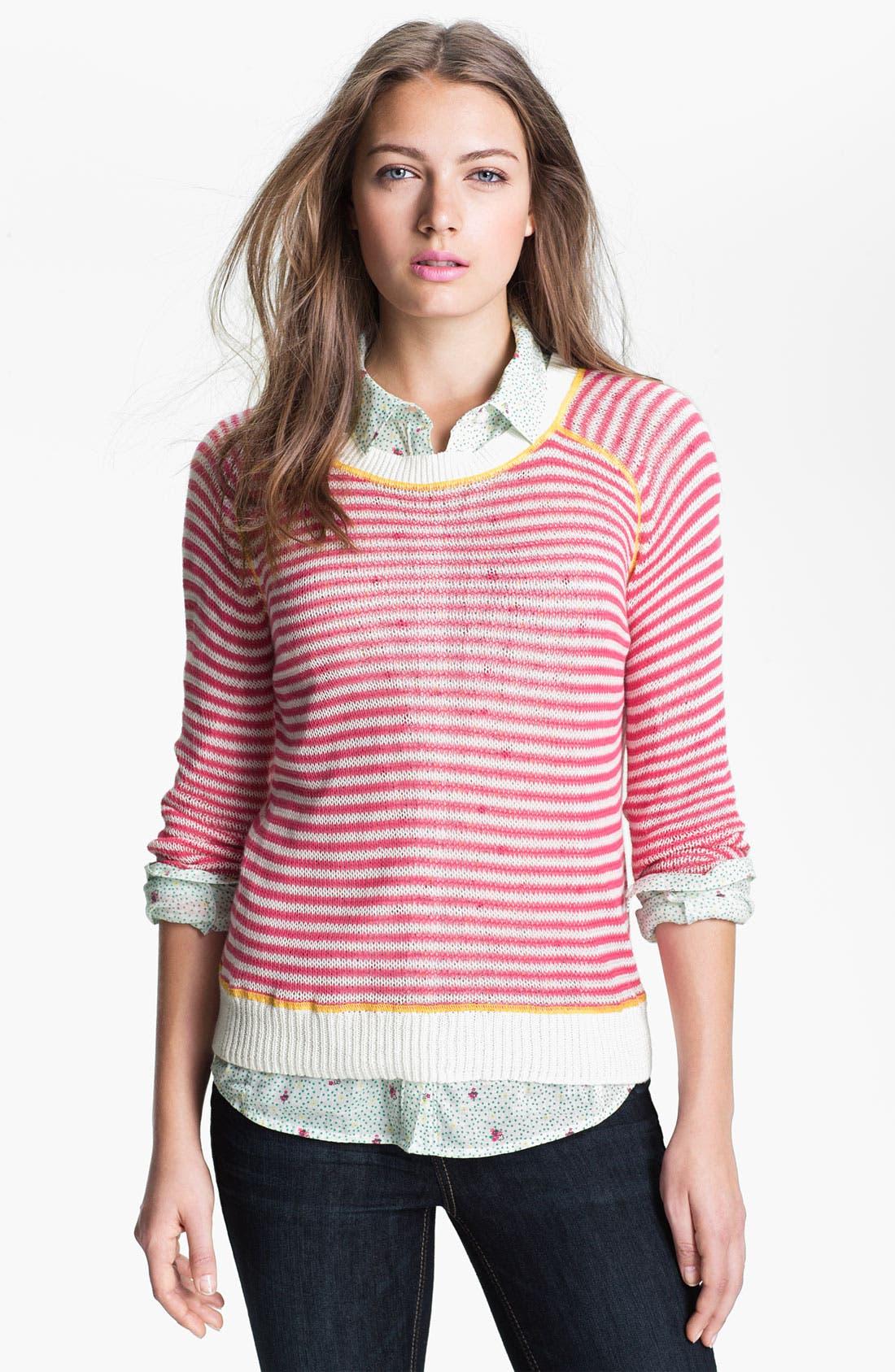 Main Image - Caslon Contrast Stitch Crewneck Sweater (Petite)