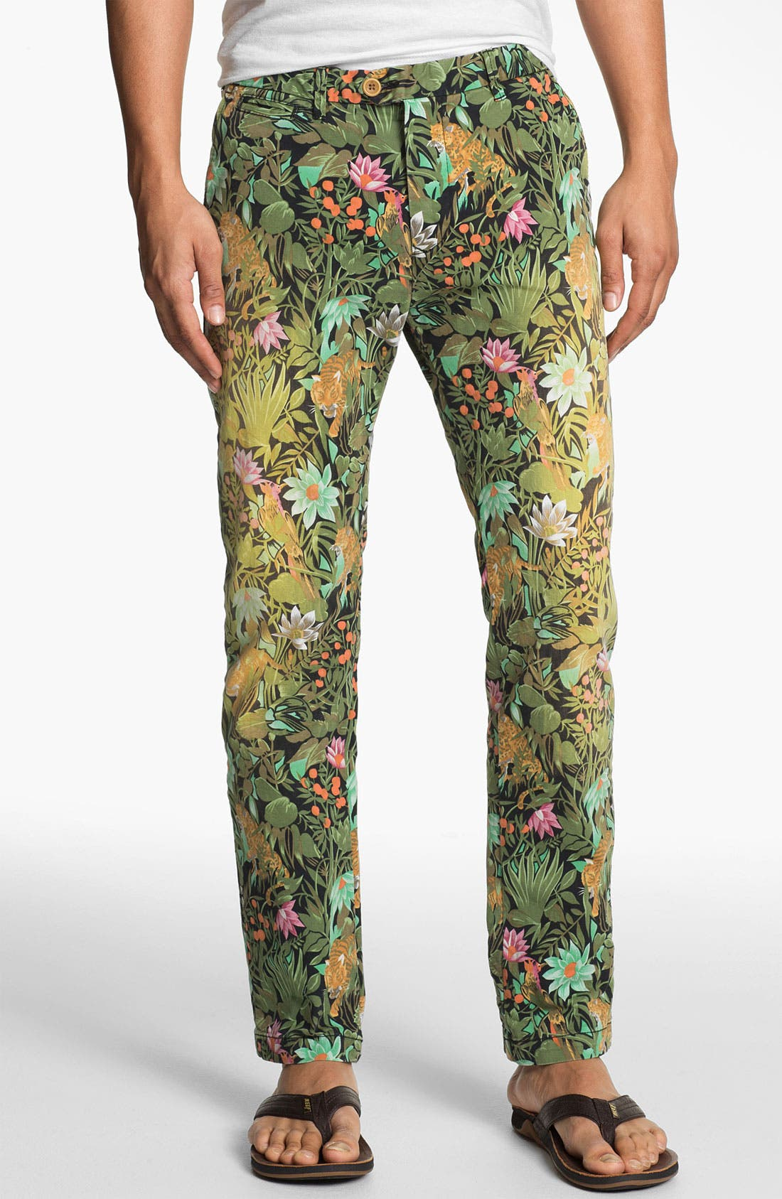Main Image - Scotch & Soda 'Bowie' Slim Straight Leg Floral Print Chinos