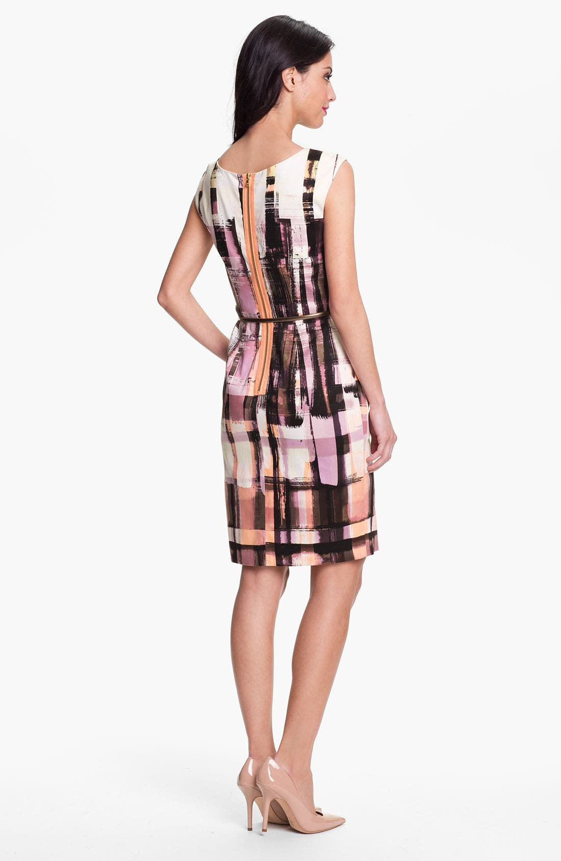 Alternate Image 2  - Maggy London Plaid Print Belted Sheath Dress