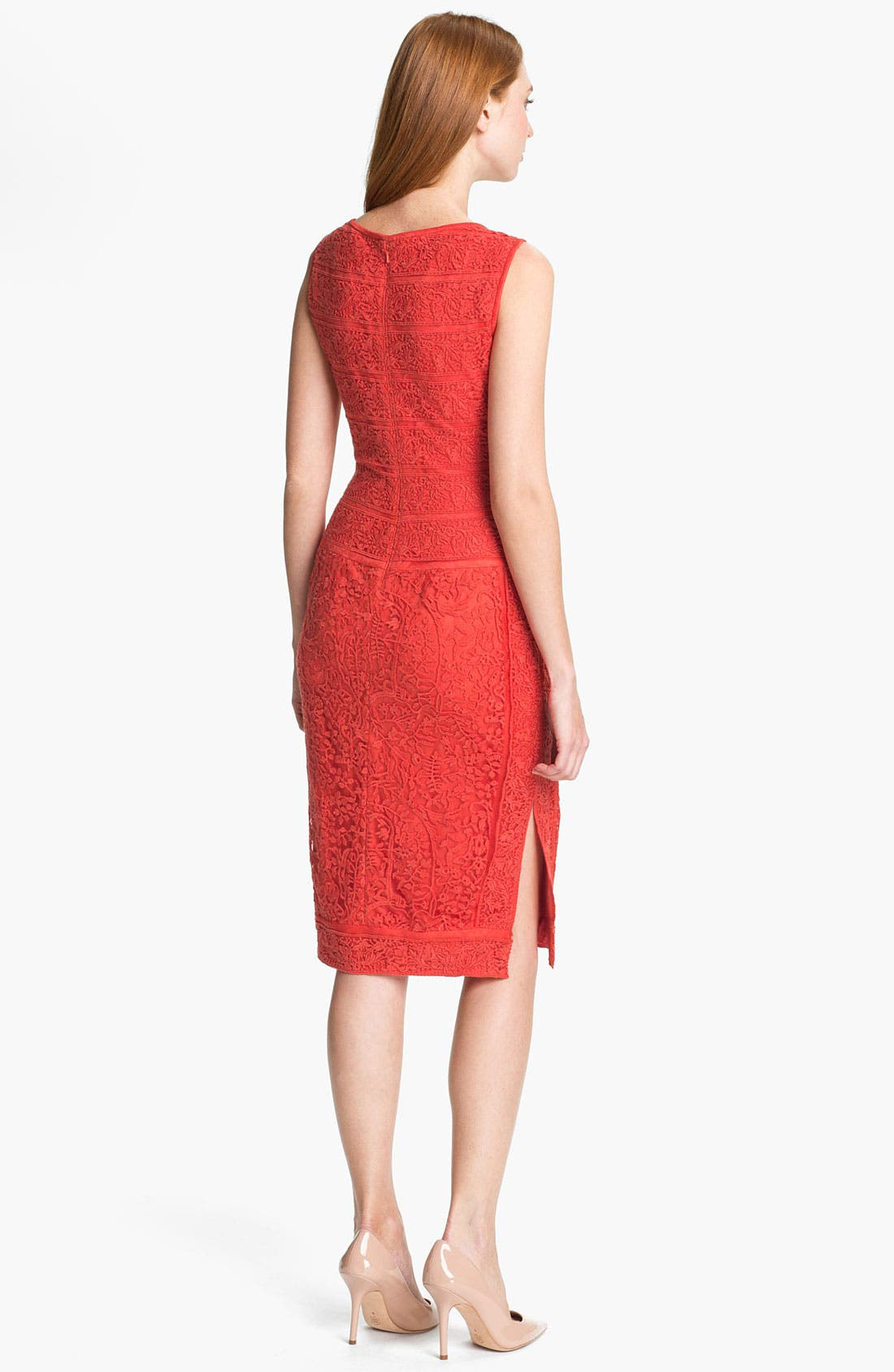 Alternate Image 2  - Tadashi Shoji Embroidered Lace Sheath Dress
