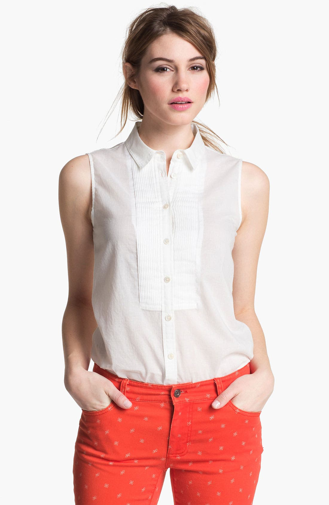 Alternate Image 1 Selected - Two by Vince Camuto Pleat Front Blouse