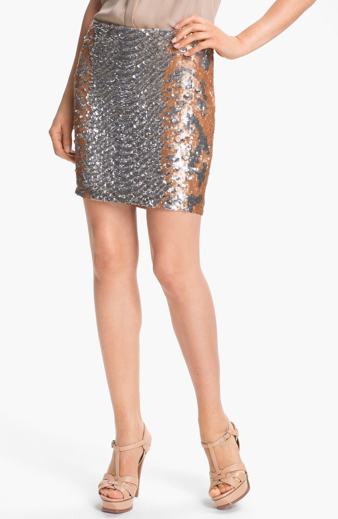Main Image - Haute Hippie Python Pattern Sequin Skirt (Nordstrom Exclusive)