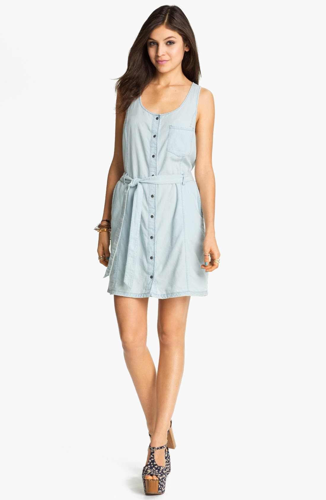 Alternate Image 1 Selected - Rubbish® Chambray Bustier Dress (Juniors)