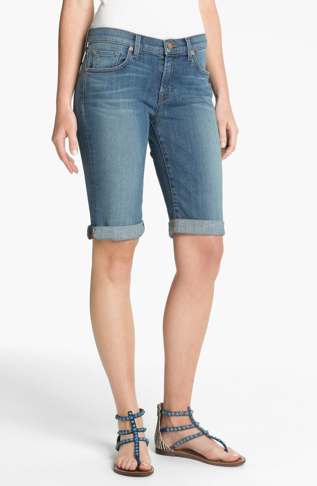 Alternate Image 1 Selected - J Brand Cuff Stretch Denim Shorts (Revenge)