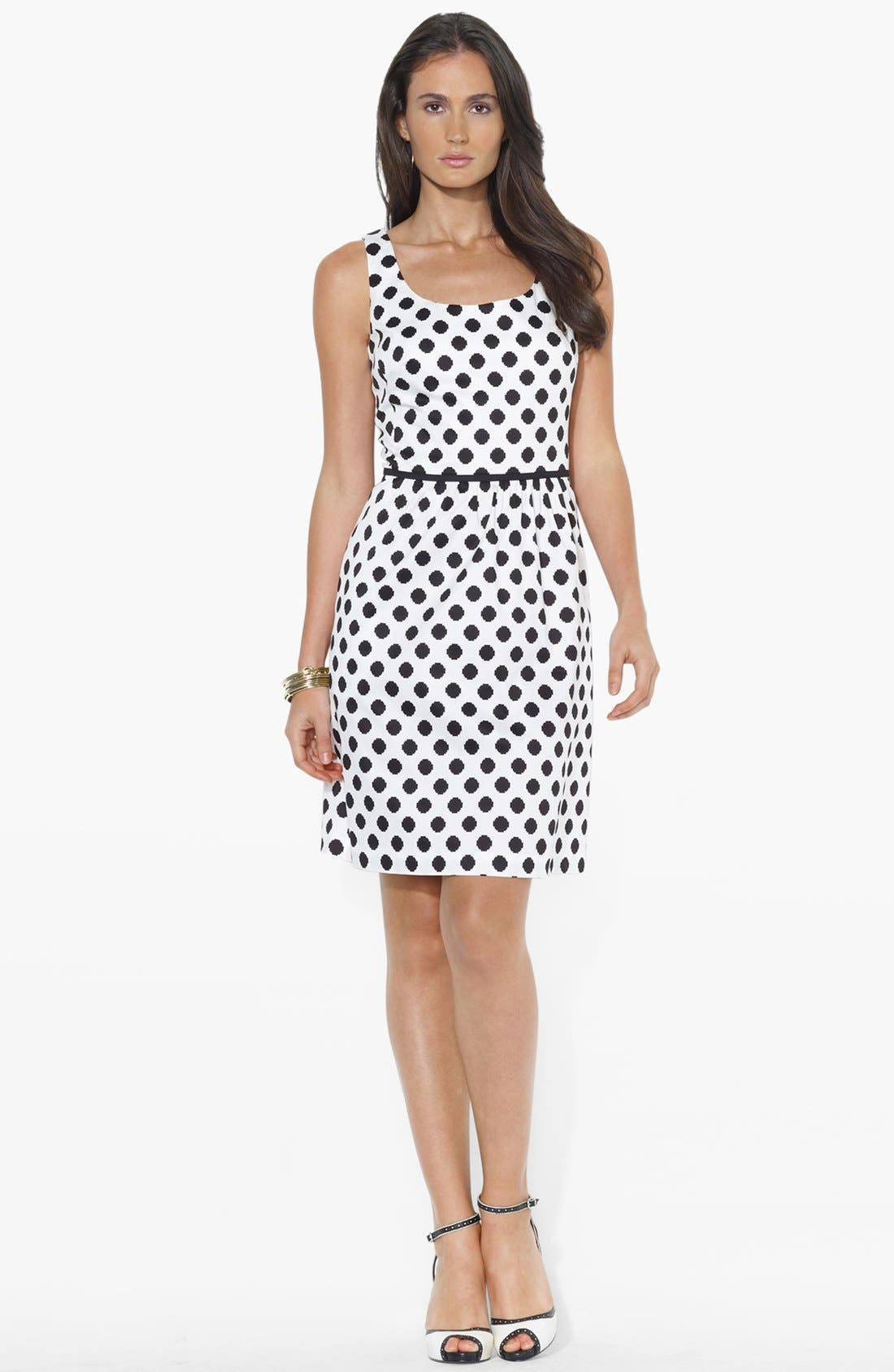Main Image - Lauren Ralph Lauren Polka Dot Fit & Flare Dress