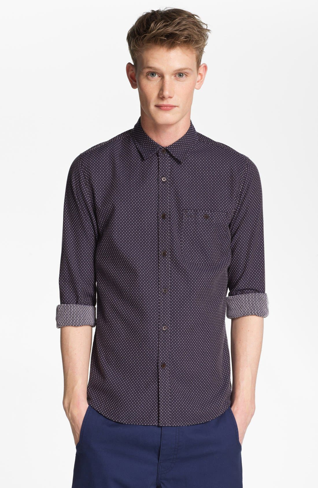 Alternate Image 1 Selected - Topman Dot Woven Shirt