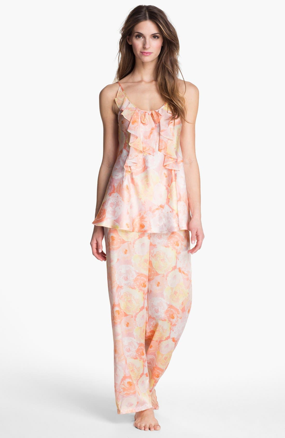 Alternate Image 1 Selected - Oscar de la Renta Sleepwear Ruffle Charmeuse Pajamas