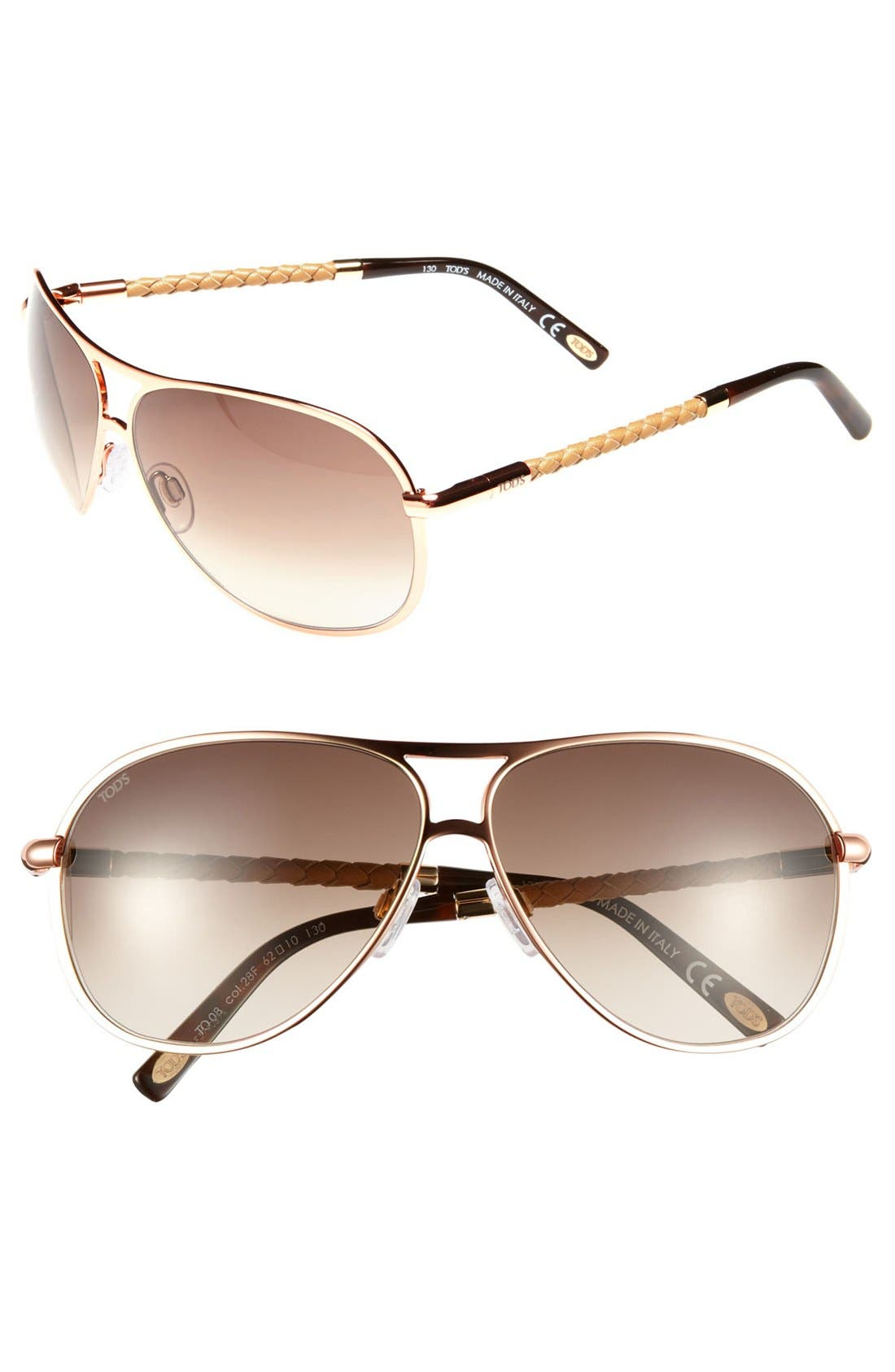Main Image - Tod's 60mm Woven Leather Temple Aviator Sunglasses