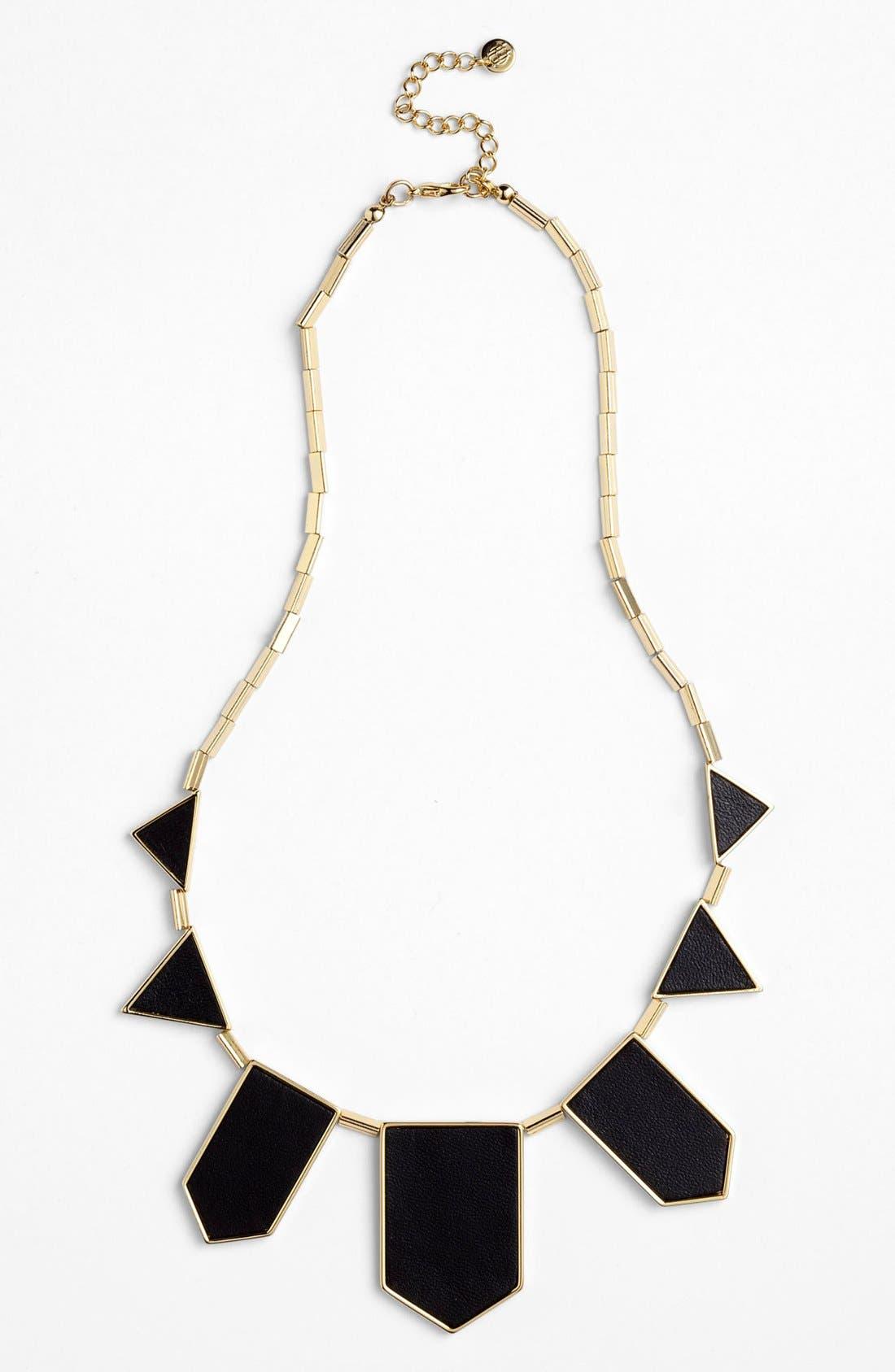 Leather Station Necklace,                         Main,                         color, Black/ Gold