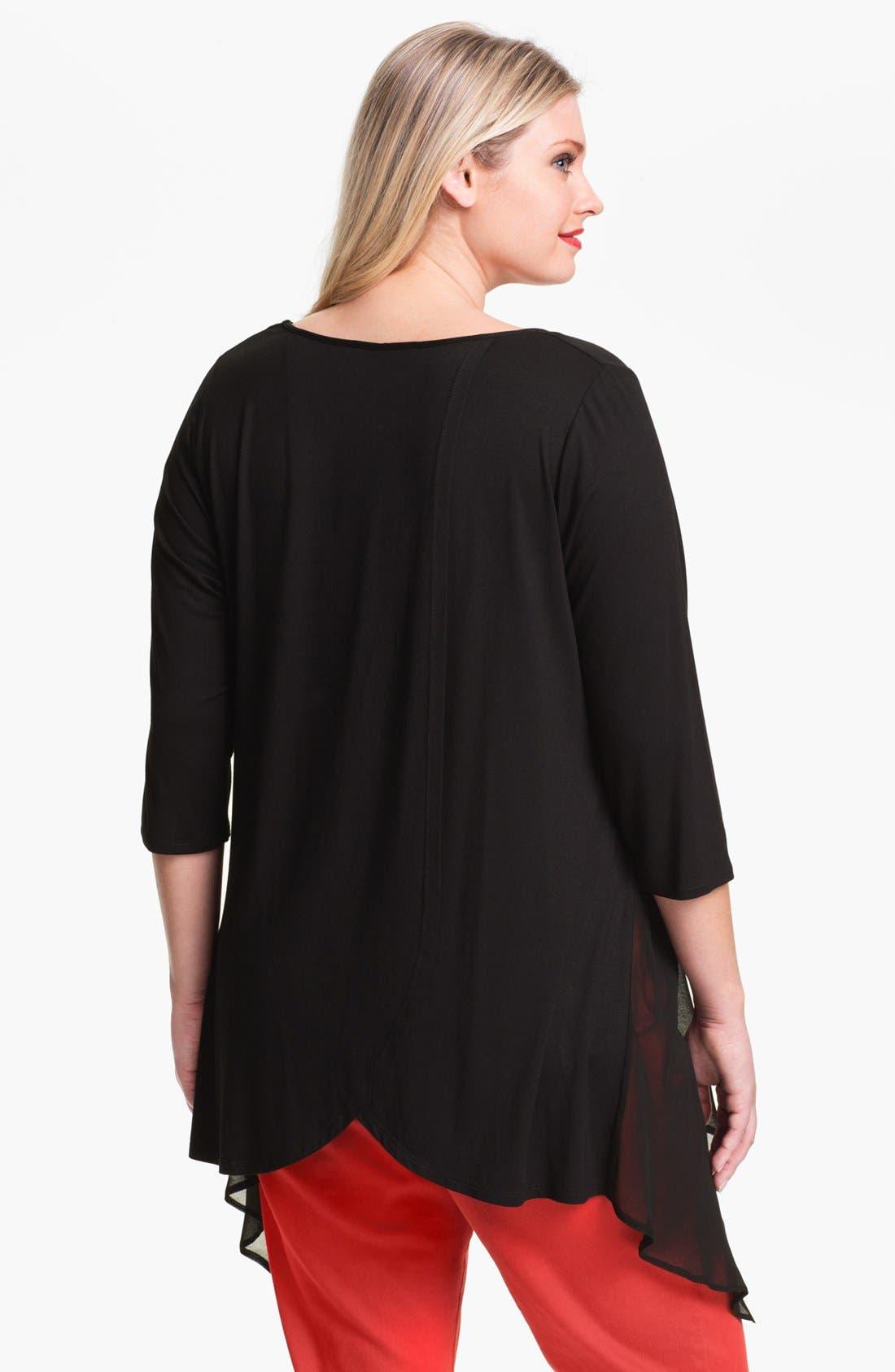 Alternate Image 2  - Evans Sheer Inset Jersey Top (Plus Size)
