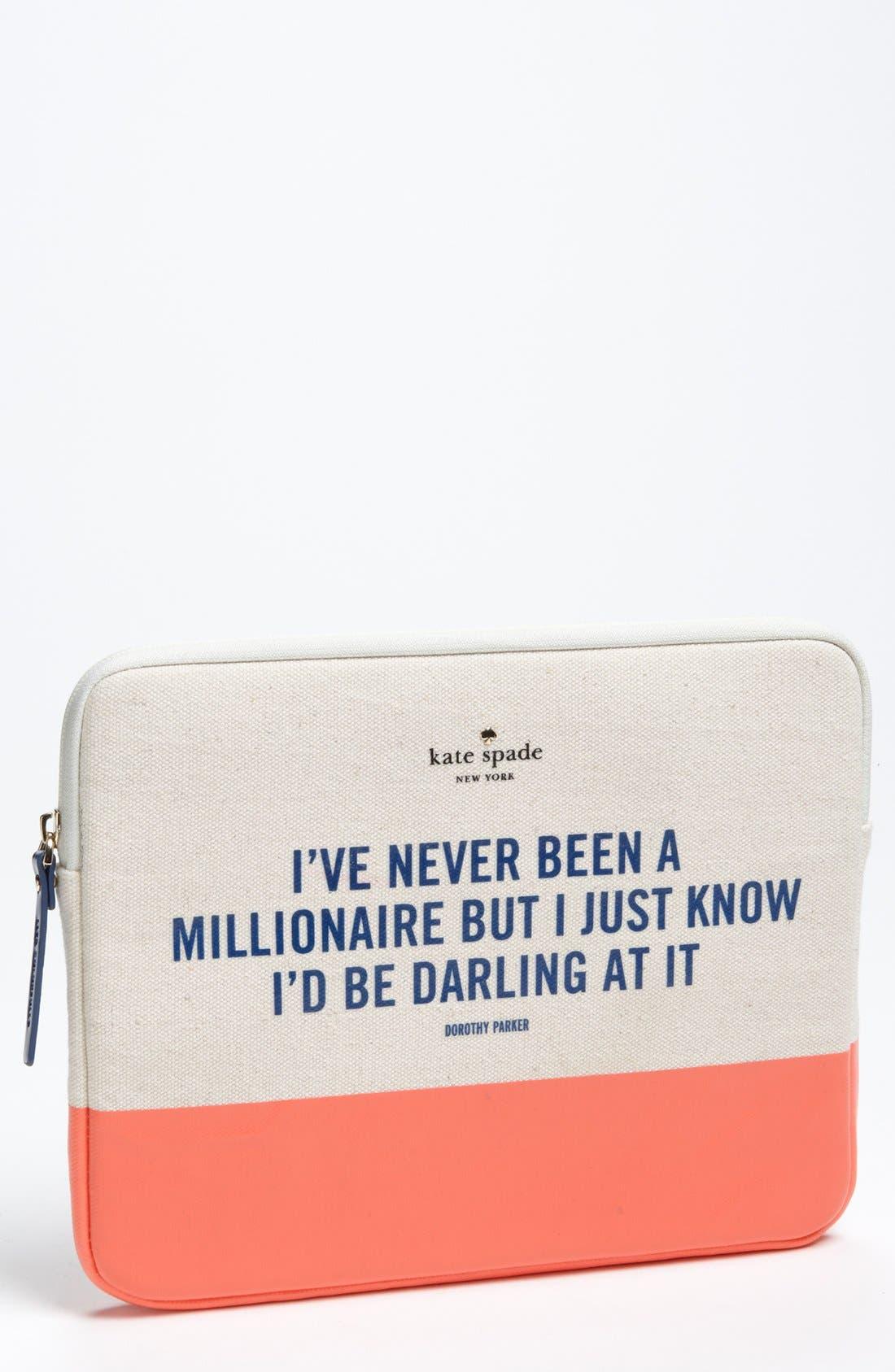 Alternate Image 1 Selected - kate spade new york 'millionaire quote' iPad sleeve