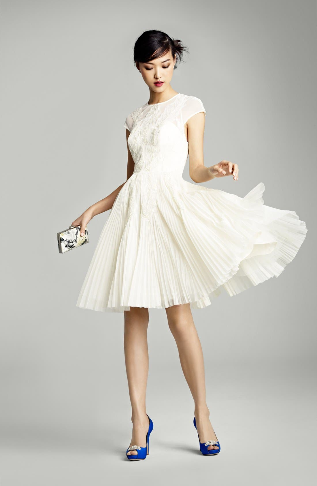 Alternate Image 6  - Ted Baker London 'Miyaa' Embroidered Mesh Fit & Flare Dress