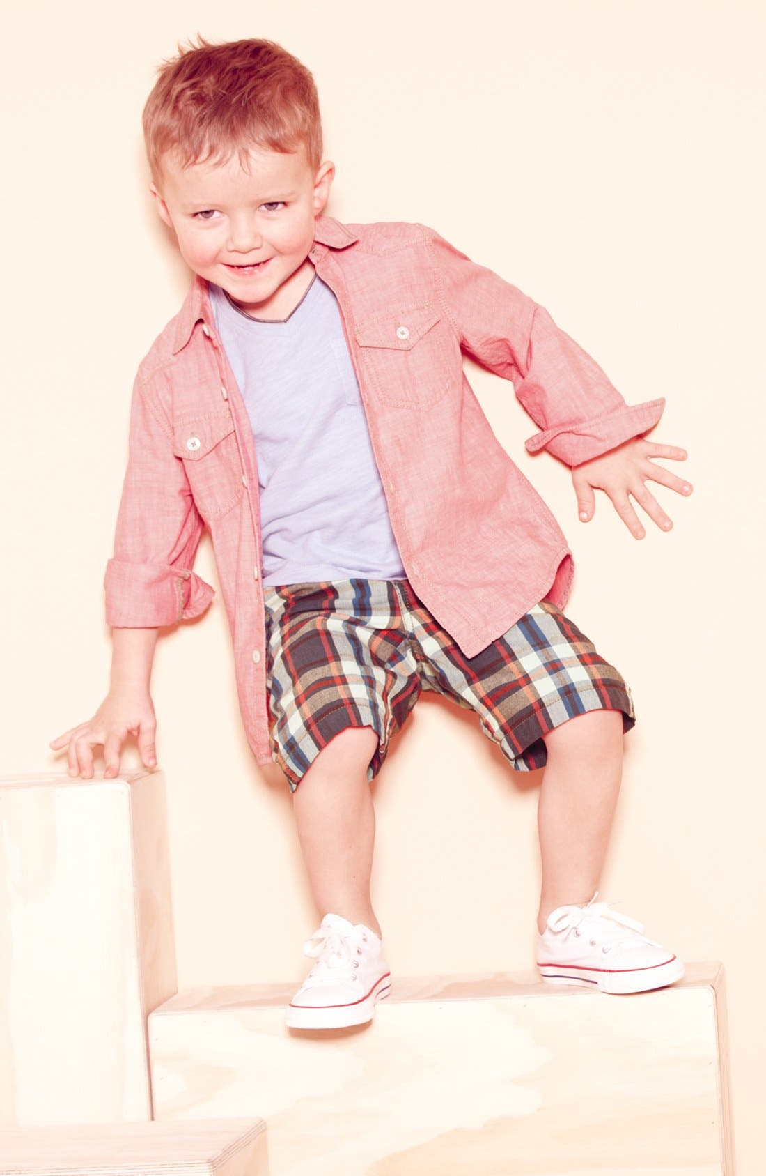 Alternate Image 1 Selected - Tucker + Tate Chambray Shirt, T-Shirt & Converse Sneaker (Toddler)
