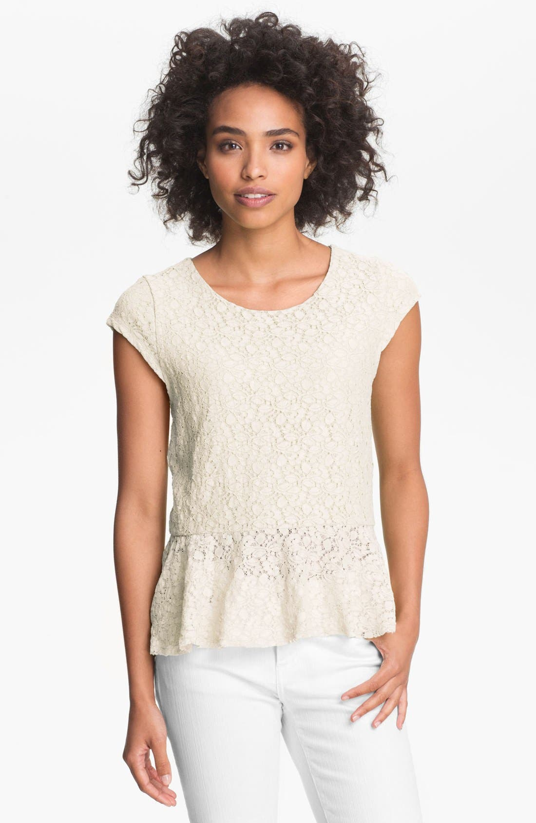 Alternate Image 1 Selected - Vince Camuto Cap Sleeve Lace Peplum Top