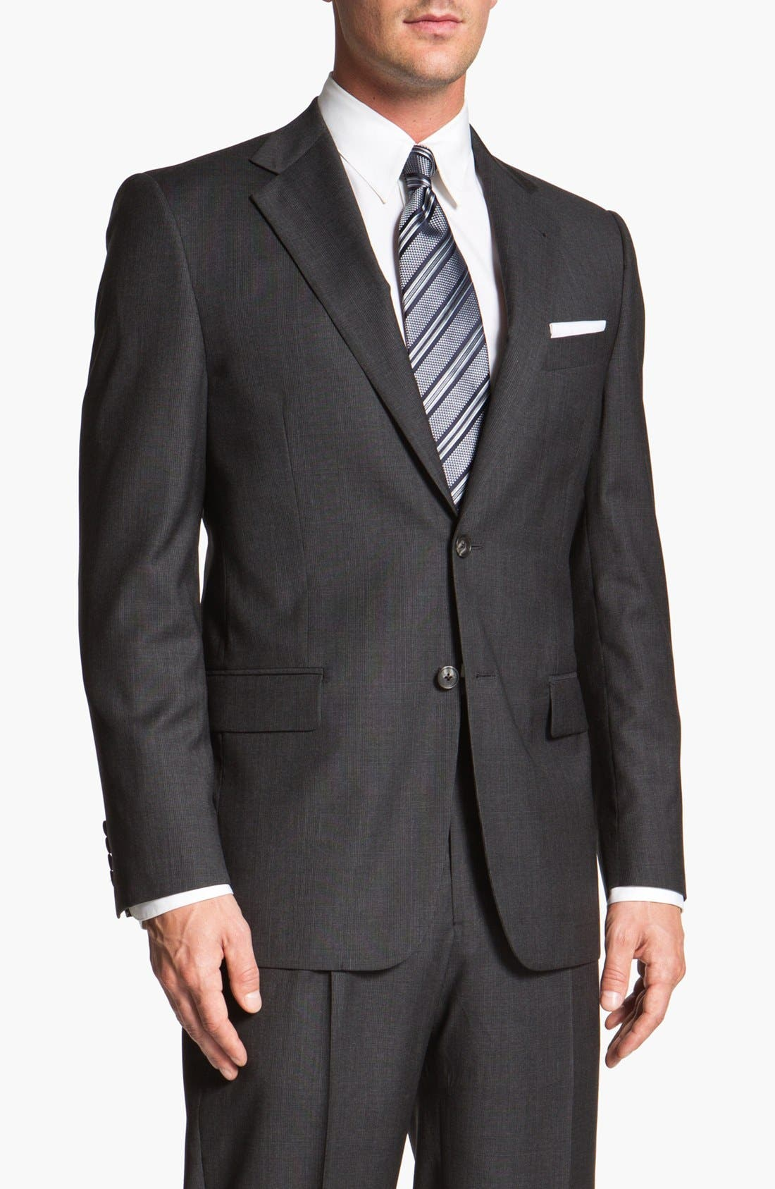 Main Image - Joseph Abboud 'Signature Silver' Plaid Wool Suit (Online Only)
